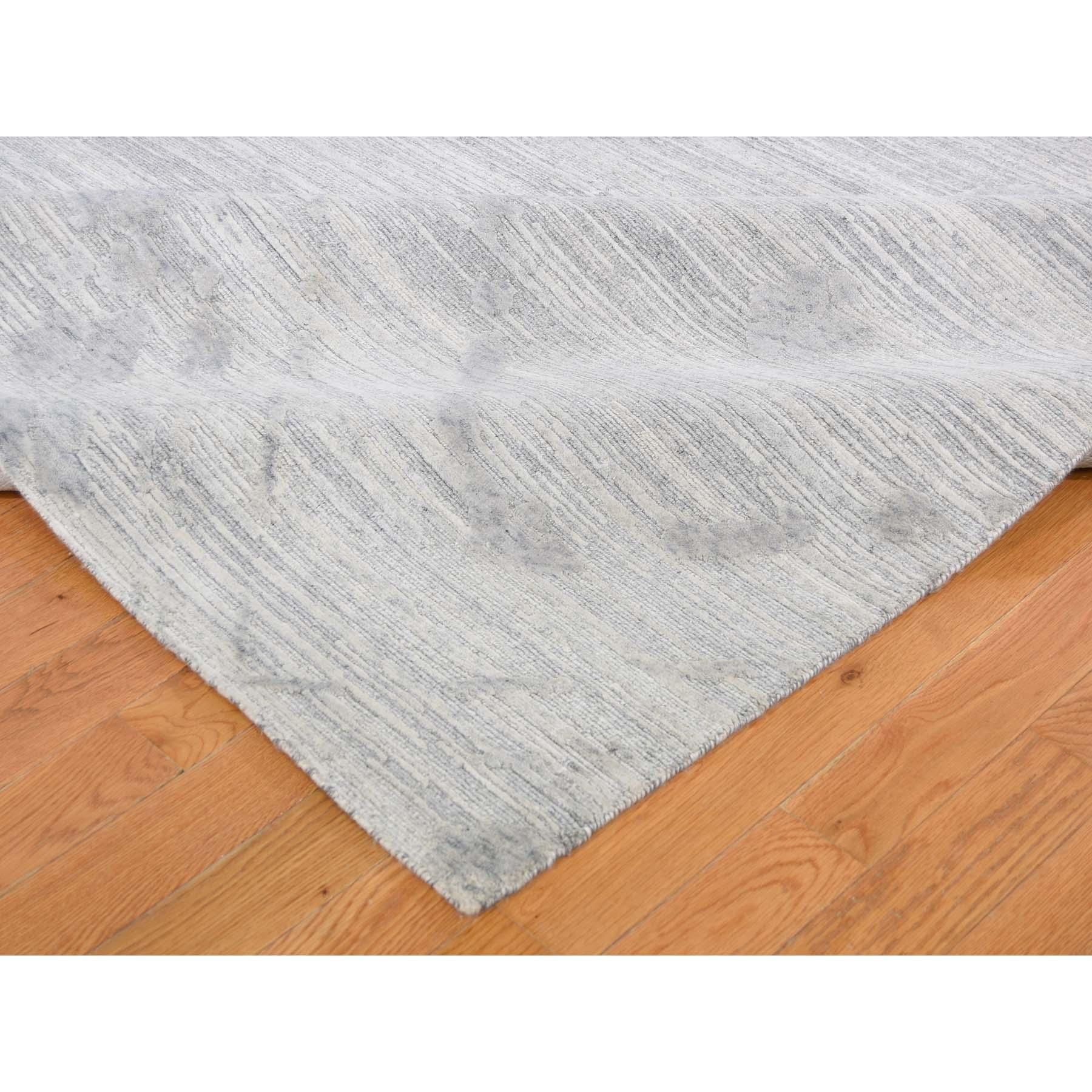 "10'3""x14' Silver Hand Spun Undyed Natural Wool Modern Hand-Knotted Oriental Rug"