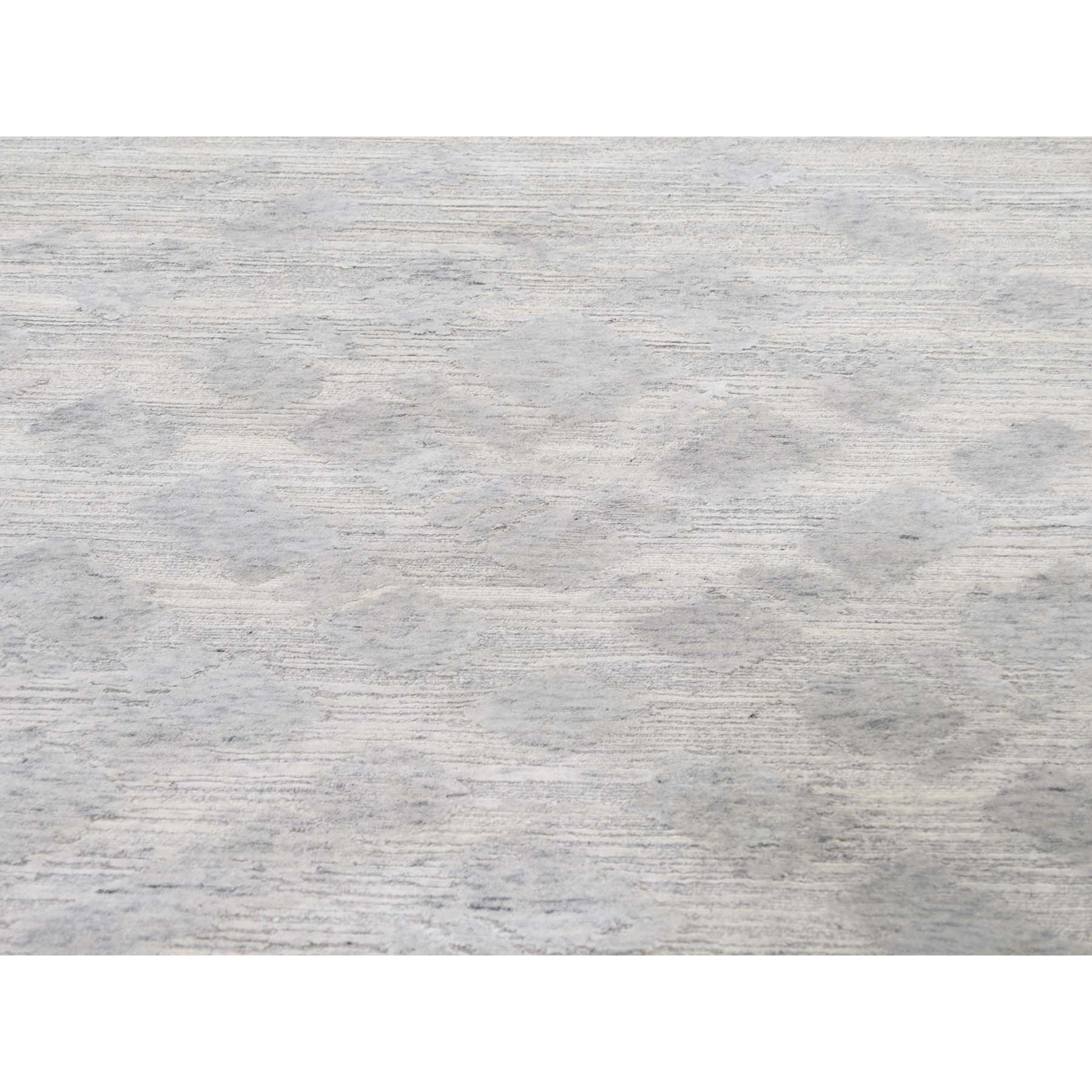 "10'3""x14' Silver Hand Spun Undyed Natural Wool Modern Hand-Knotted Oriental Rug"