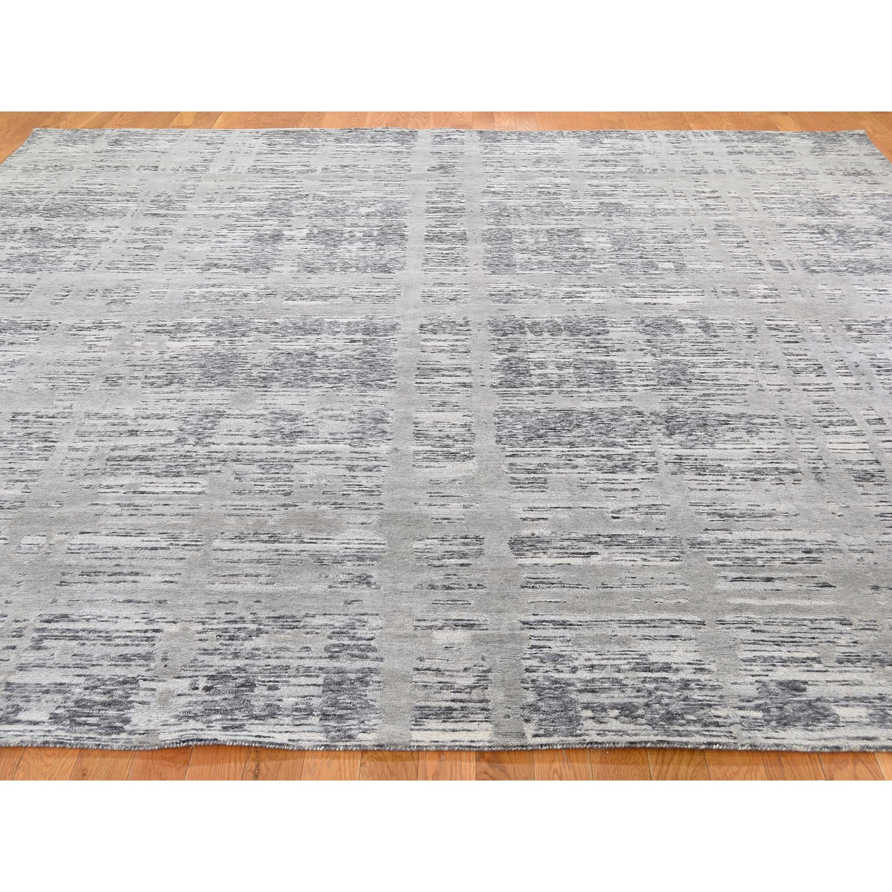 10-1 x10-1  Square Gray Hand Spun Undyed Natural Wool Modern Oriental Hand-Knotted Rug