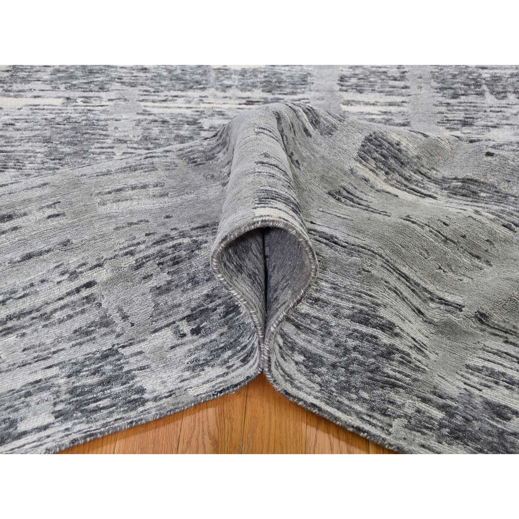 """10'1""""x10'1"""" Square Gray Hand Spun Undyed Natural Wool Modern Oriental Hand-Knotted Rug"""