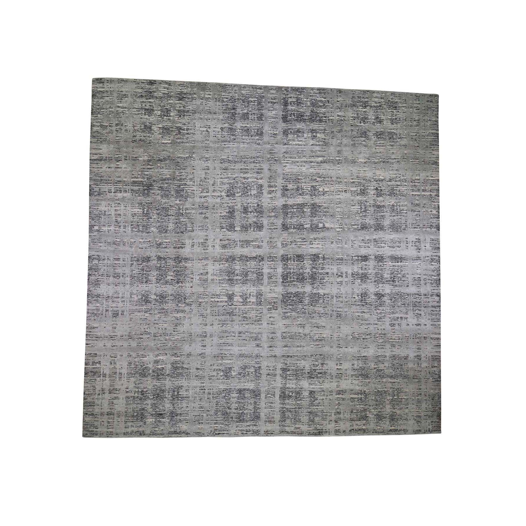 14'X14' Square Gray Hand Spun Undyed Natural Wool Modern Oriental Hand-Knotted Rug moade687