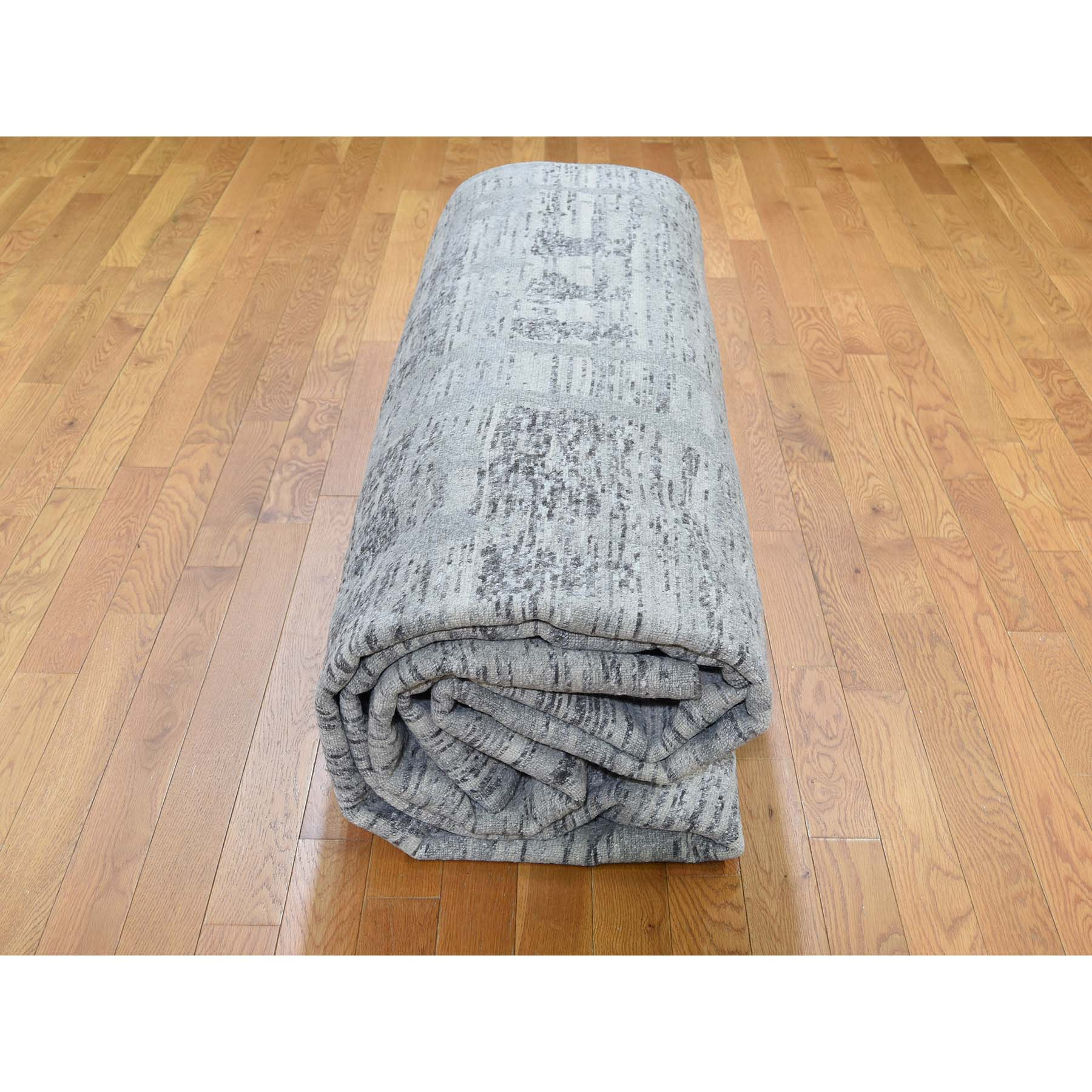 14-x14- Square Gray Hand Spun Undyed Natural Wool Modern Oriental Hand-Knotted Rug