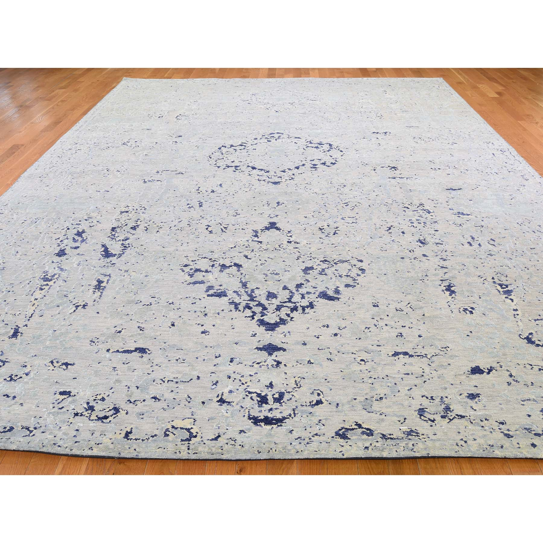 10-x14-1  Diminishing Cypress Tree With Medallion Design Silk With Oxidized Wool Hand-Knotted Oriental Rug