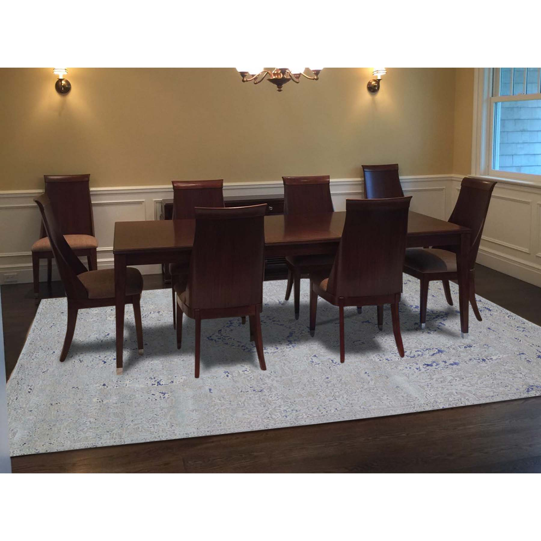 8-9 x12-1  Diminishing Cypress Tree With Medallion Design Silk With Textured Wool Hand-Knotted Oriental Rug