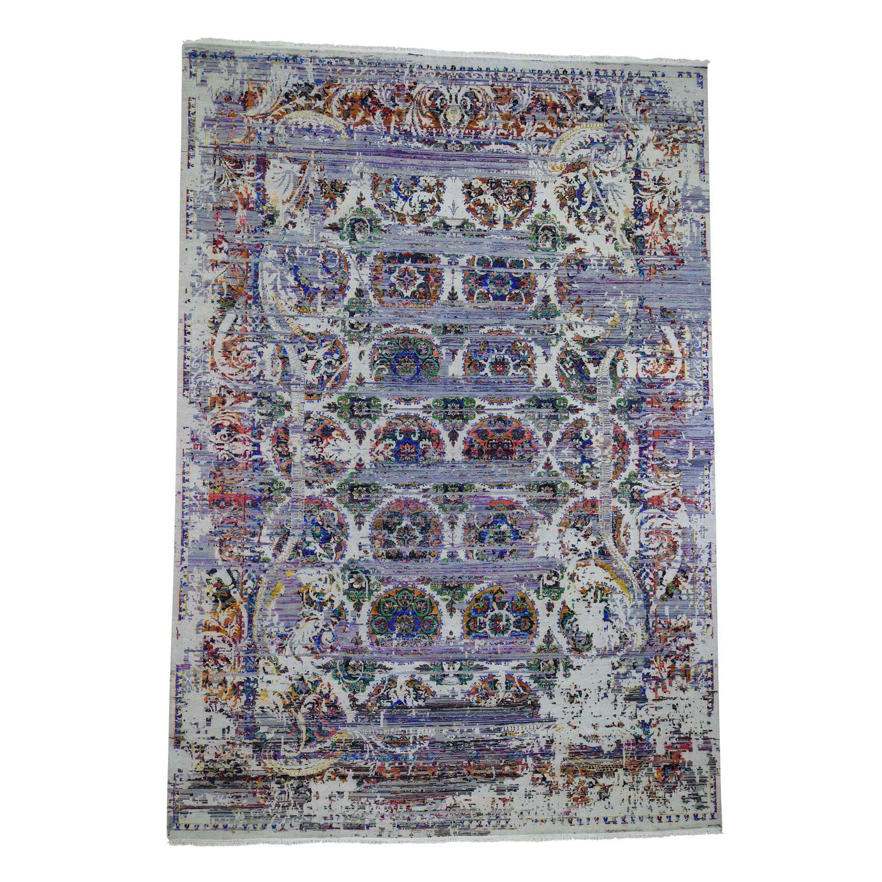 "9'10""x14'3"" ERASED ROSSETS, Colorful Sari Silk With Textured Wool Hand-Knotted Oriental Rug"