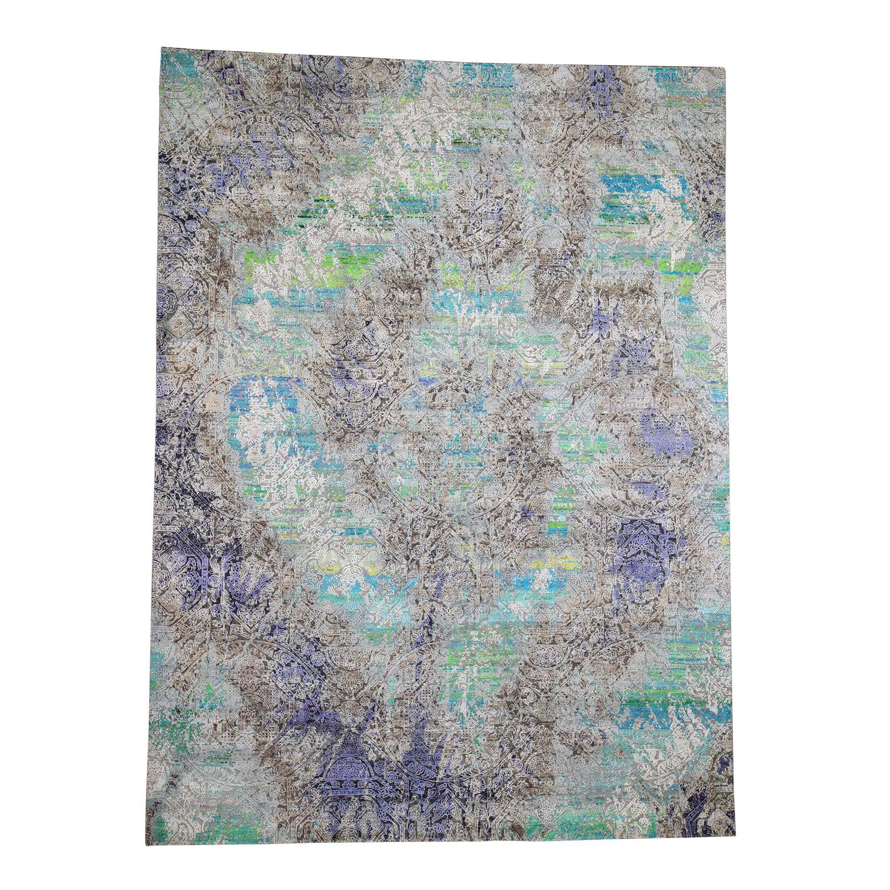 """8'9""""X11'10"""" Colorful Diminishing Coins, Sari Silk With Oxidzed Wool Hand-Knotted Rug moade709"""