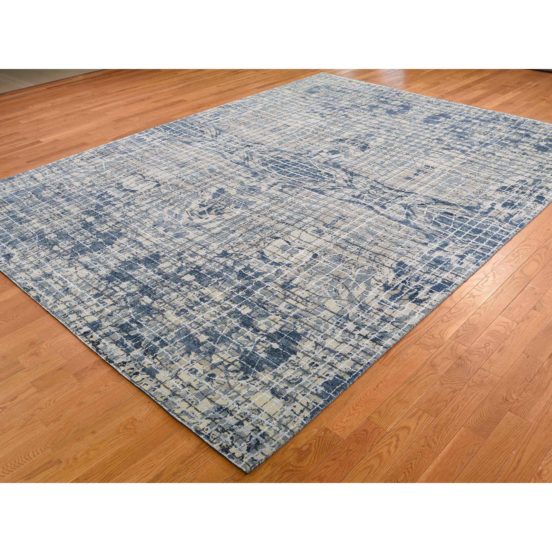 9-1 x12-2  THE GRAPH DESIGN Silk With Oxidized Wool Hand-Knotted Oriental Rug
