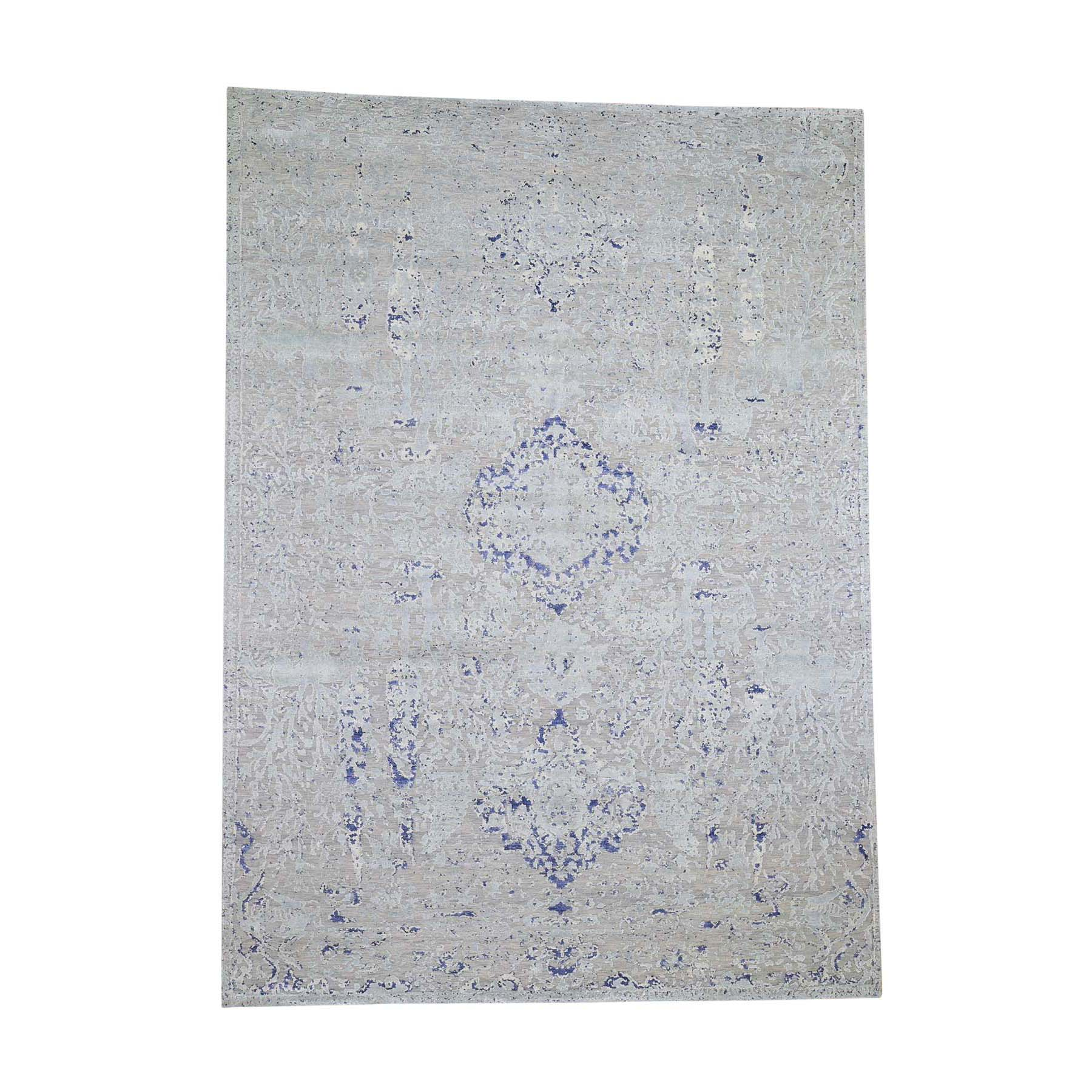 "8'10""x12'2"" Diminishing Cypress Tree With Medallion Design Silk With Textured Wool Hand-Knotted Oriental Rug"