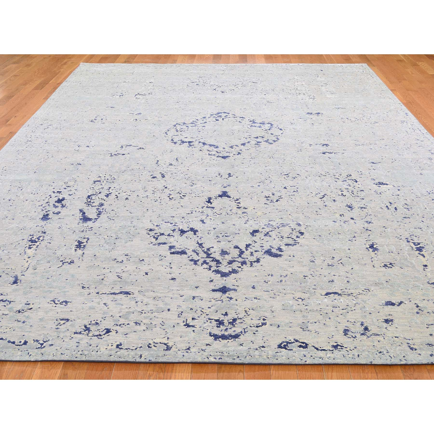 8-10 x12-2  Diminishing Cypress Tree With Medallion Design Silk With Textured Wool Hand-Knotted Oriental Rug