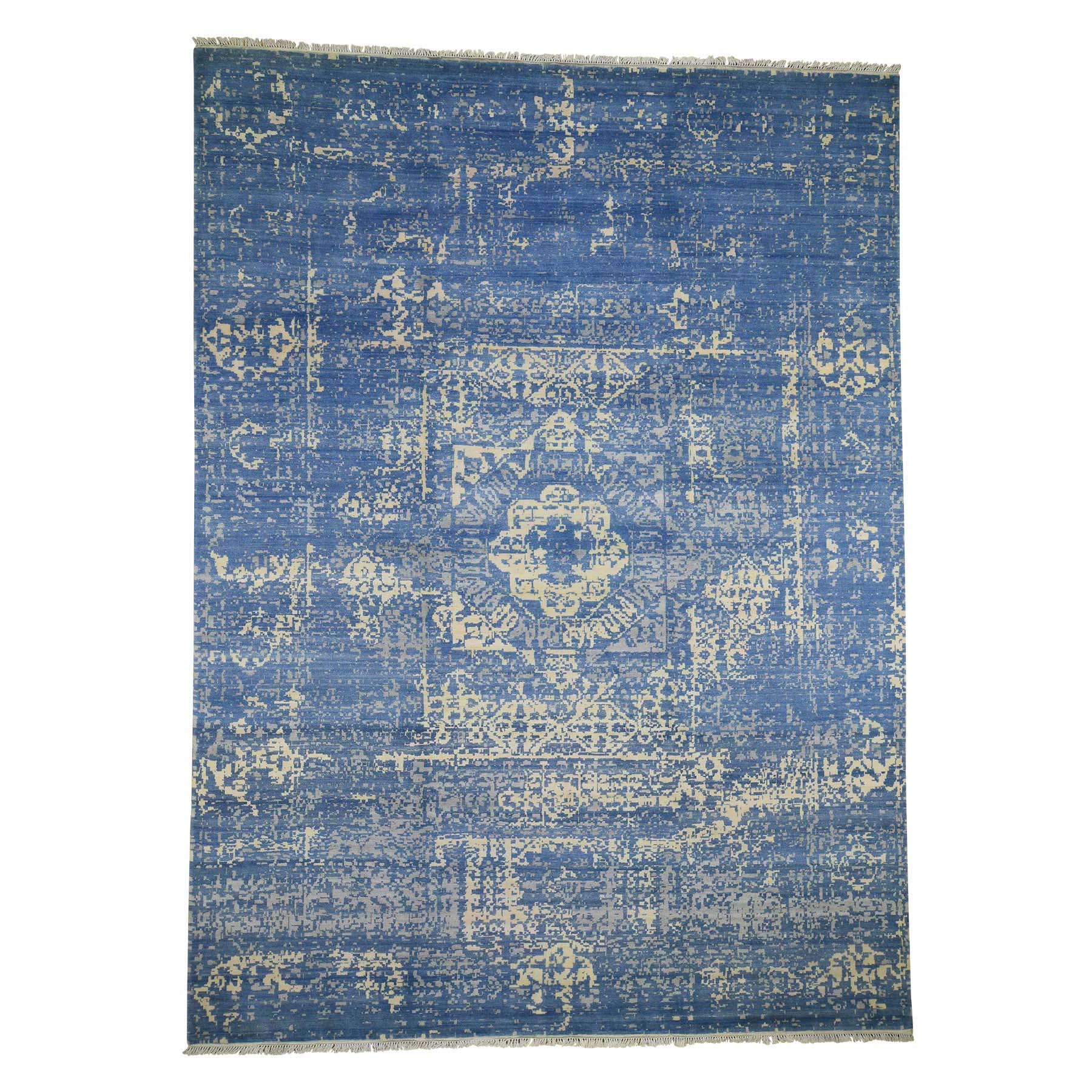 "9'2""X12'5"" Blue Wool And Silk Broken Mamluk Design Hand-Knotted Oriental Rug moade7bd"