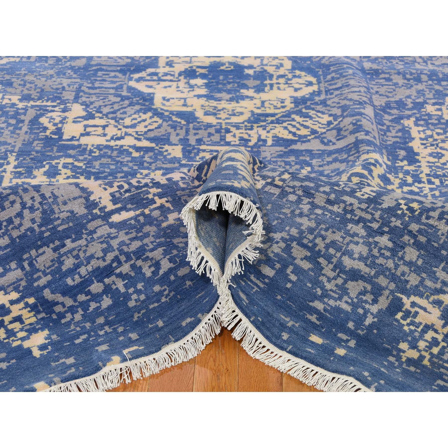9-2 x12-5  Blue Wool And Silk Broken Mamluk Design Hand-Knotted Oriental Rug