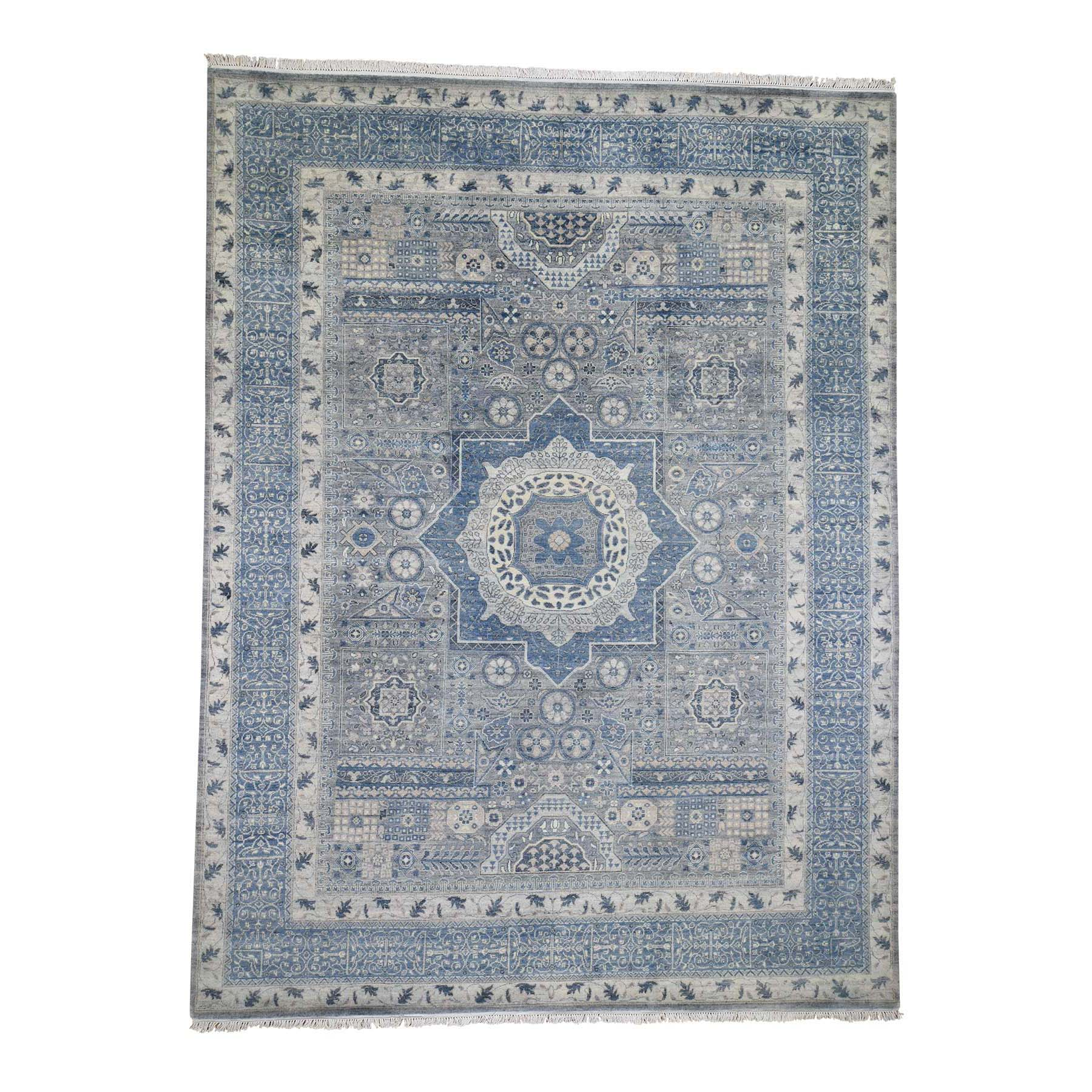 "9'2""X12'2"" Blue Pure Wool Mamluk Design Hand-Knotted Oriental Rug moade7be"