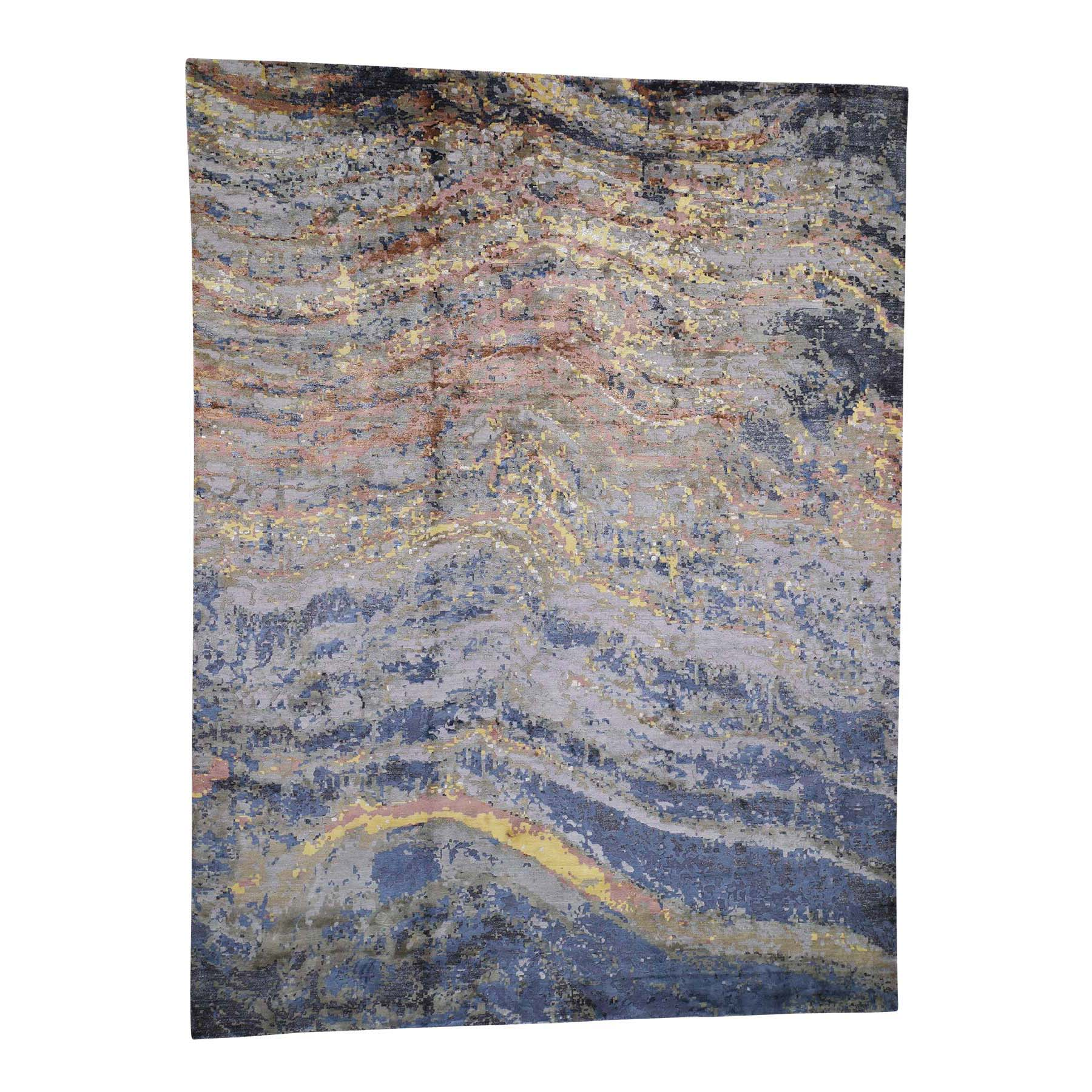"9'X12'1"" Abstract Design Wool And Pure Silk Hand-Knotted Oriental Rug moade7b9"