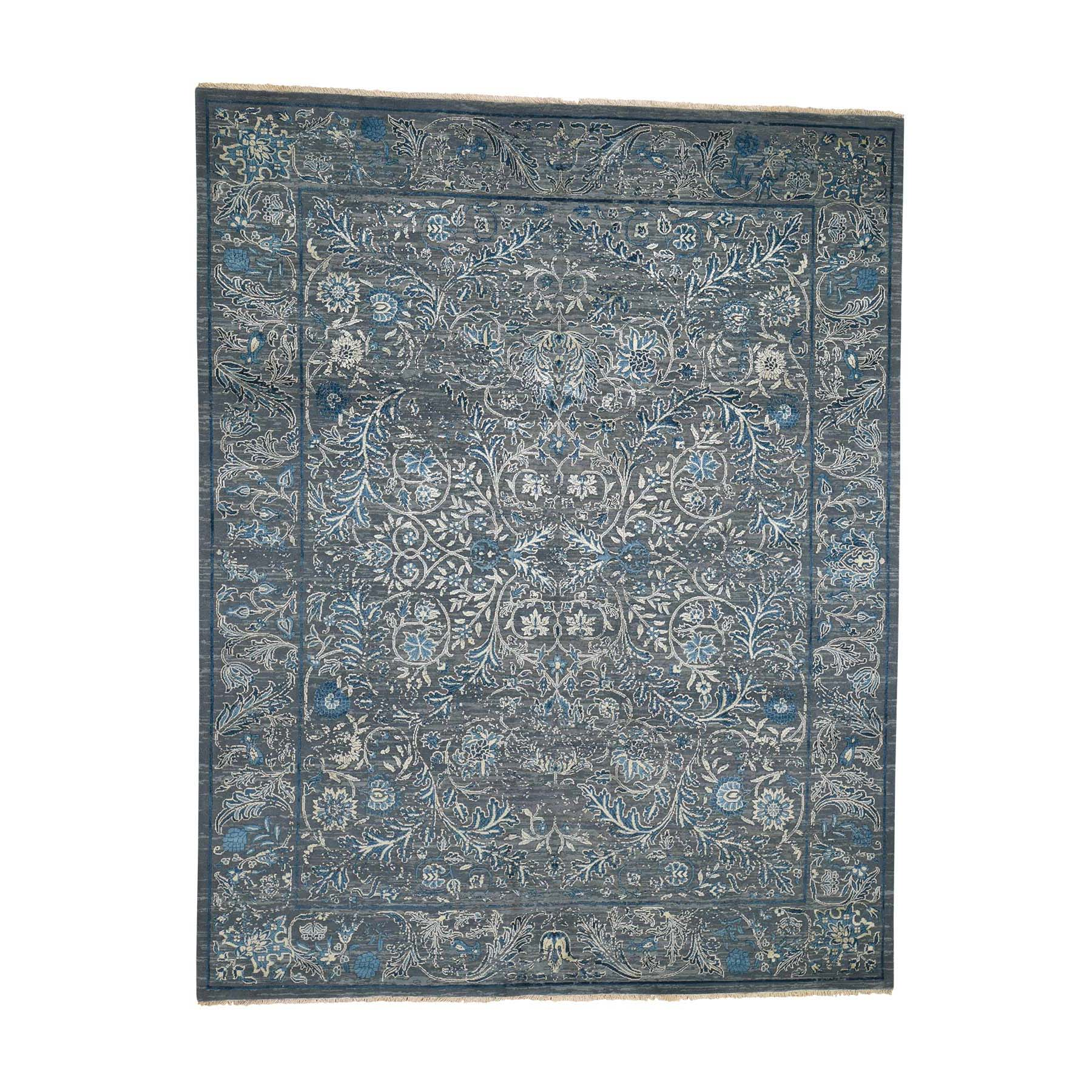 "8'X10'1"" Blue Transitional Kashan Design With Wool And Raised Silk Hand Knotted Oriental Rug moade7c7"