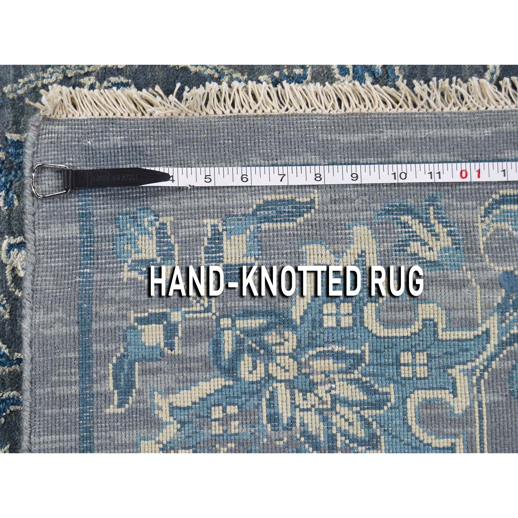 8-x10-1  Blue Transitional Kashan Design with Wool and Raised Silk Hand Knotted Oriental Rug