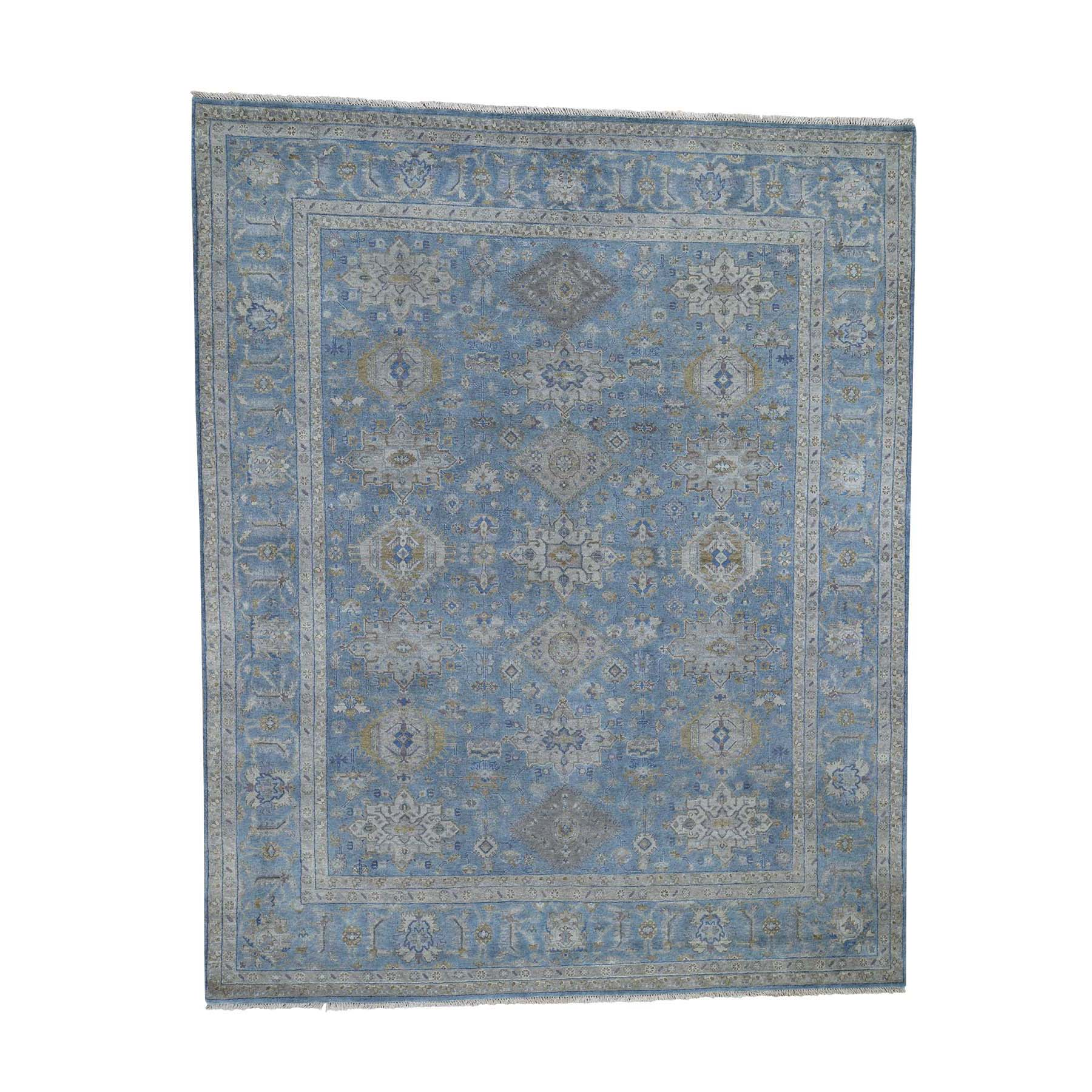 "8'1""X10' Blue Karajeh Design Pure Wool Hand-Knotted Oriental Rug moade7c9"