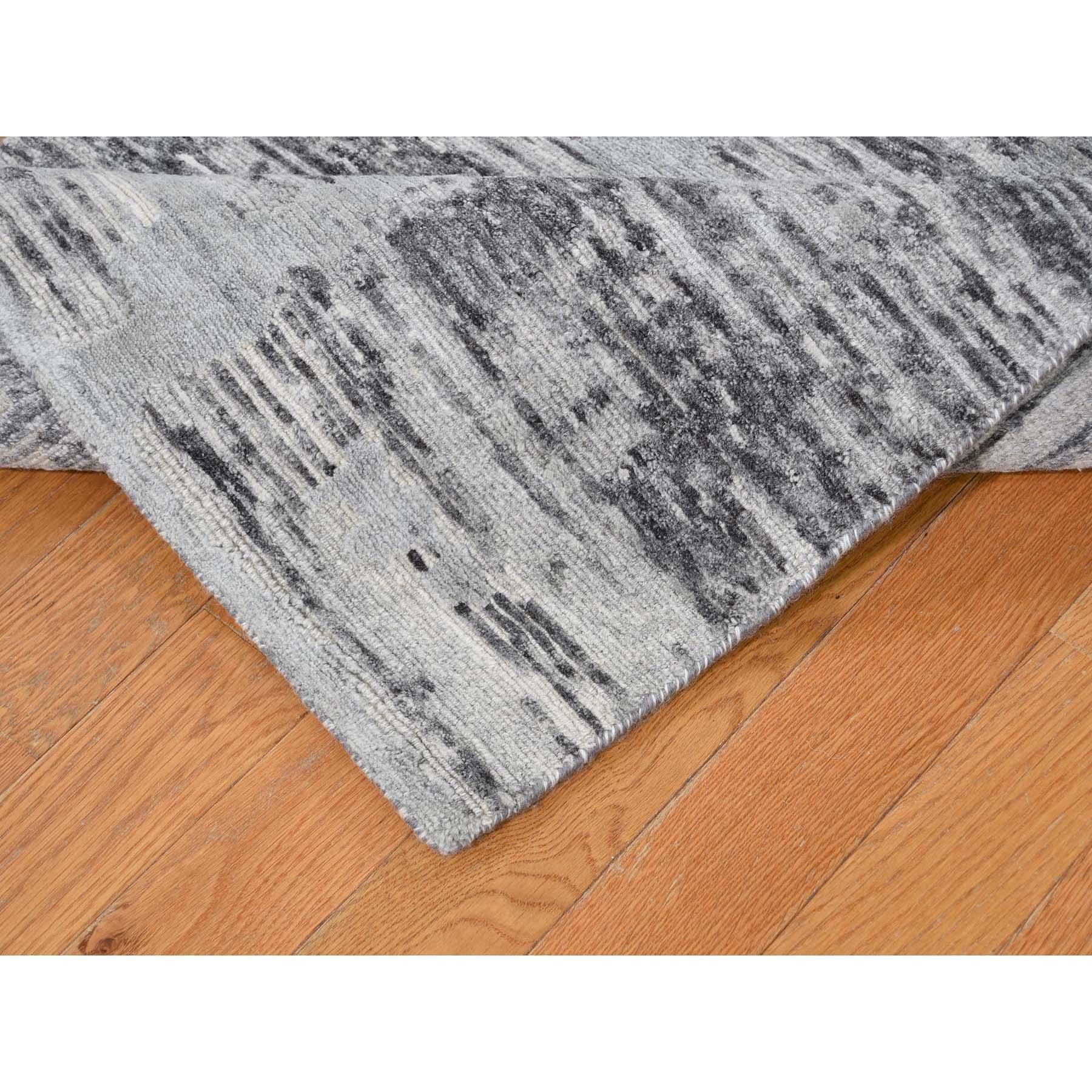 """2'7""""x12'2""""  Hand Spun Gray Undyed Natural Wool Modern Runner Oriental Hand-Knotted Rug"""