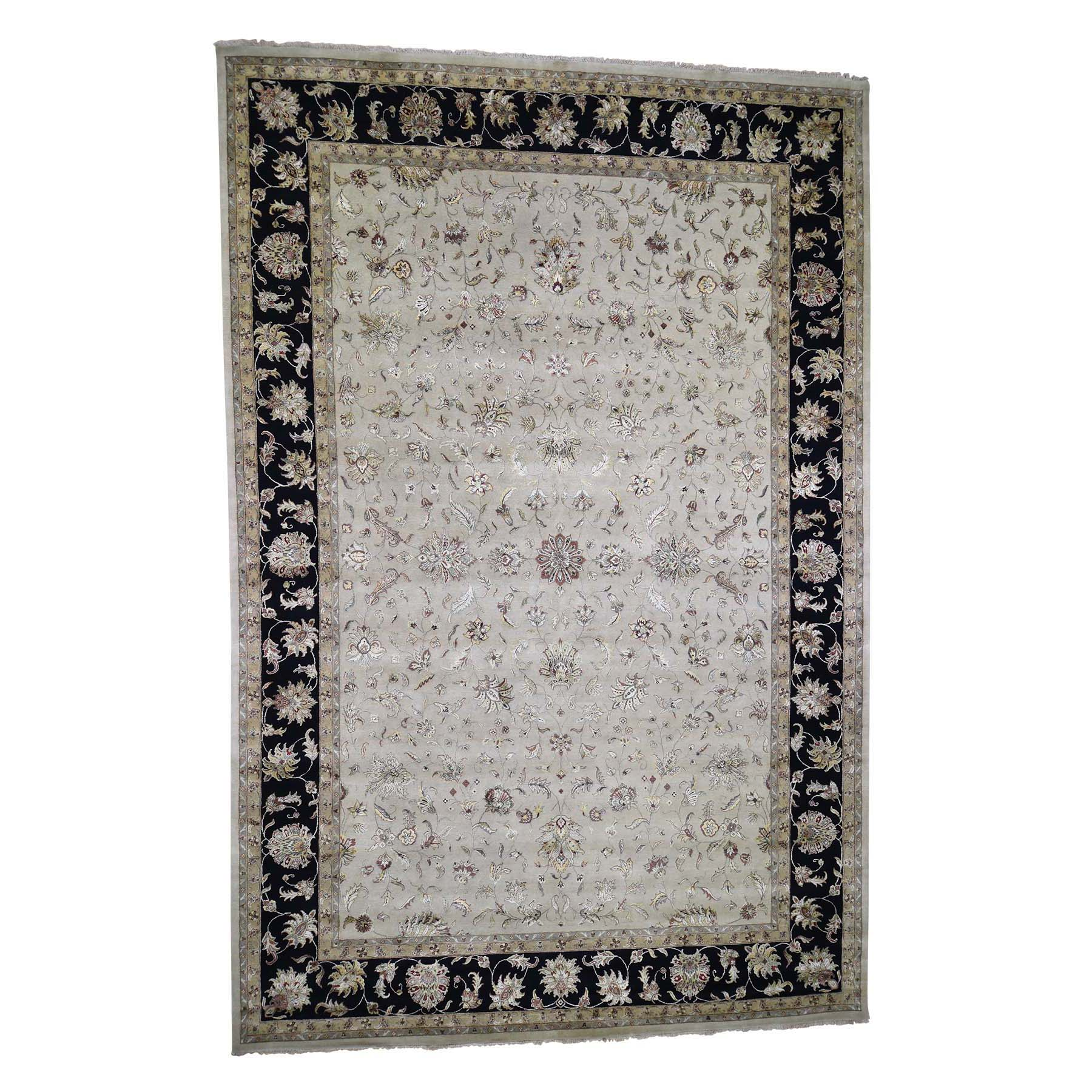 "12'x18'2"" Oversized Hand-Knotted Half Wool And Half Silk Rajasthan Oriental Rug"