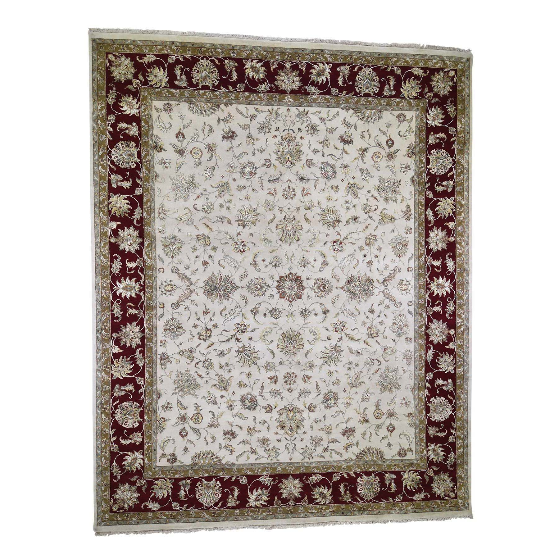 "12'X15'3"" Oversized Hand-Knotted Half Wool & Half Silk Rajasthan Oriental Rug moade7e9"