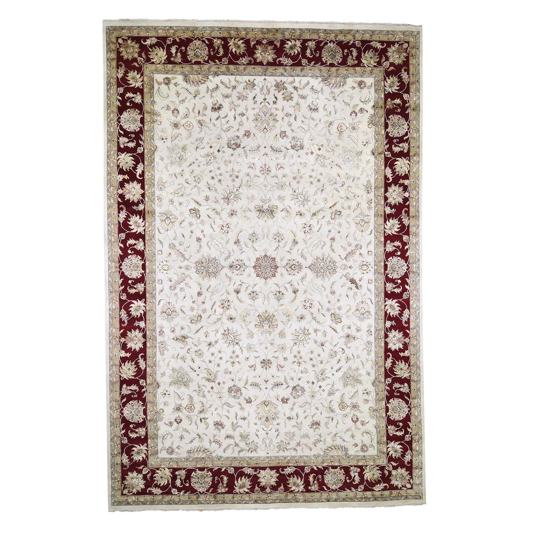 "12'X18'2"" Oversized Hand-Knotted Half Wool & Half Silk Rajasthan Oriental Rug moade76a"
