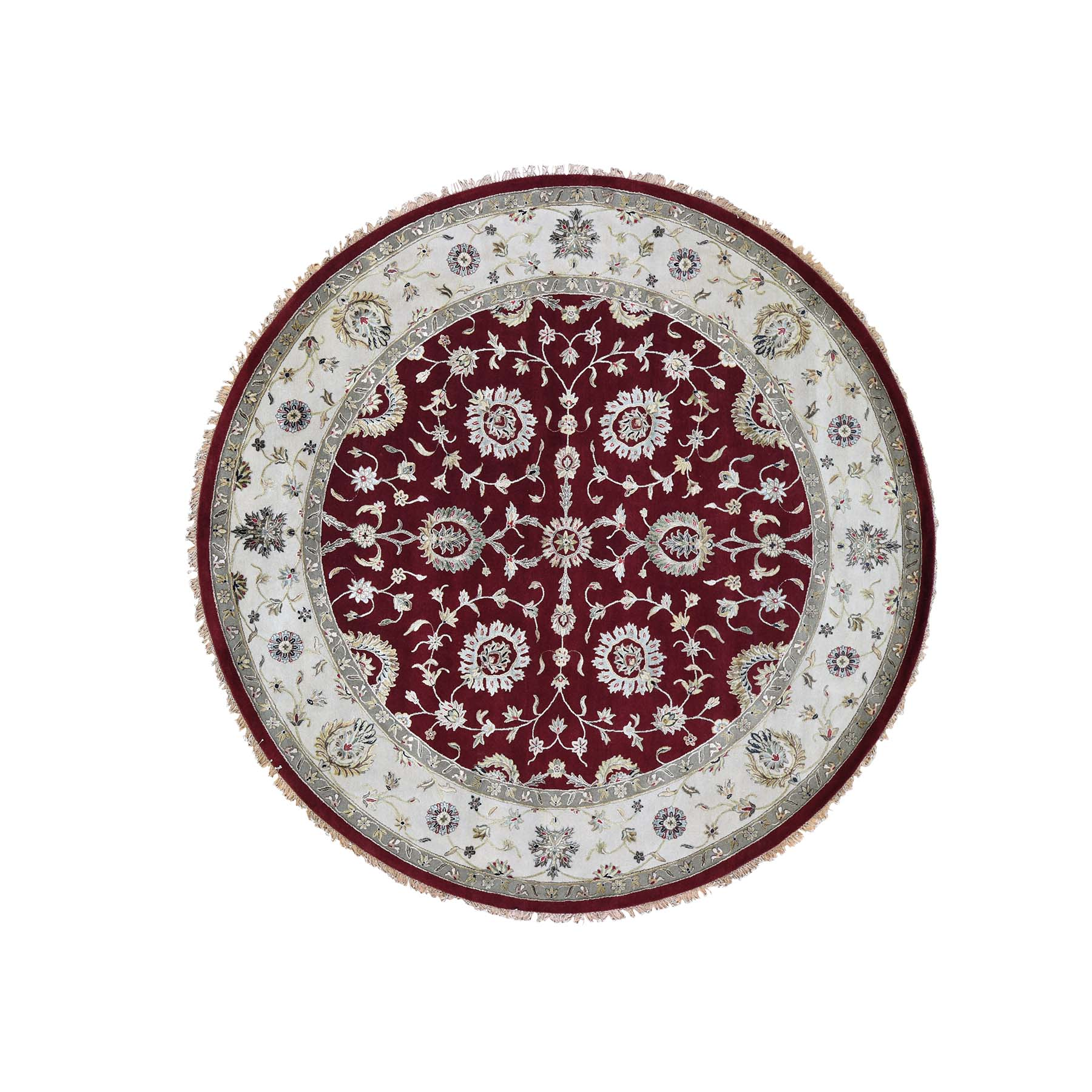 "10'1""X10'1"" Half Wool And Half Silk Burgundy Rajasthan Round Hand-Knotted Oriental Rug moade76b"