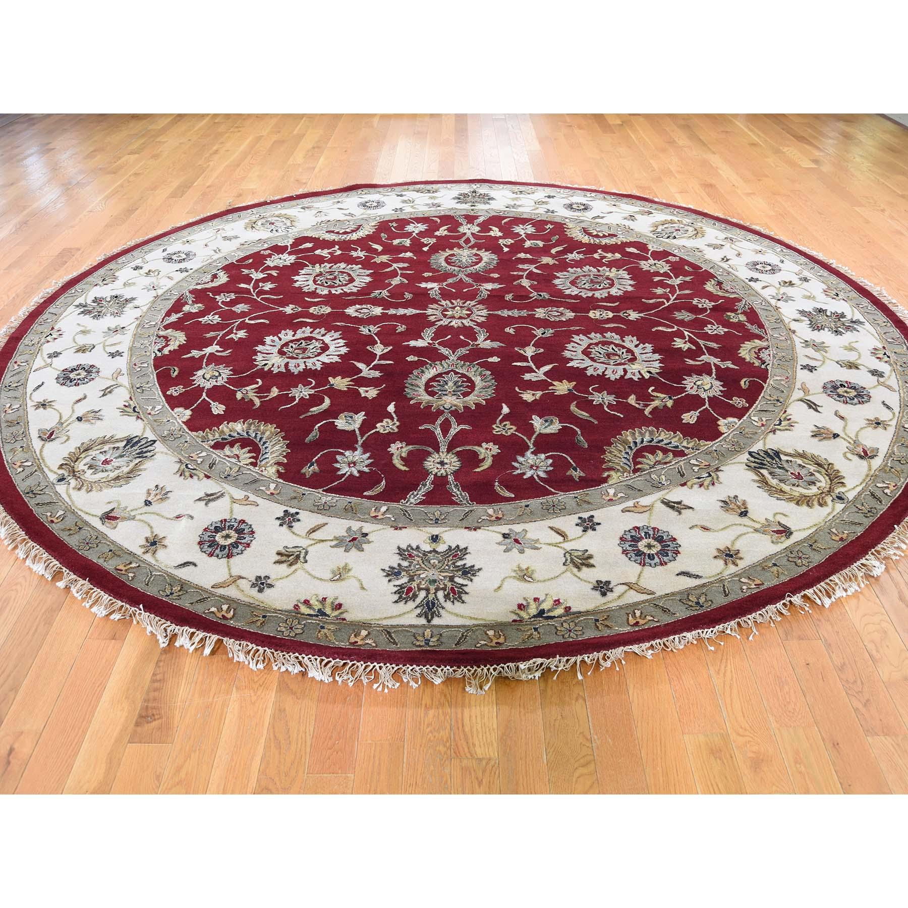 10-1 x10-1  Half Wool and Half Silk Burgundy Rajasthan Round Hand-Knotted Oriental Rug