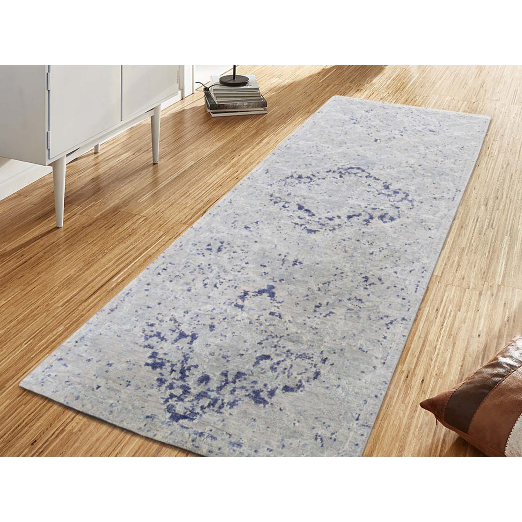 2-5 x6-1  Diminishing Cypress Trees With Medallion Design Silk With Oxidized Wool Runner Hand-Knotted Oriental Rug