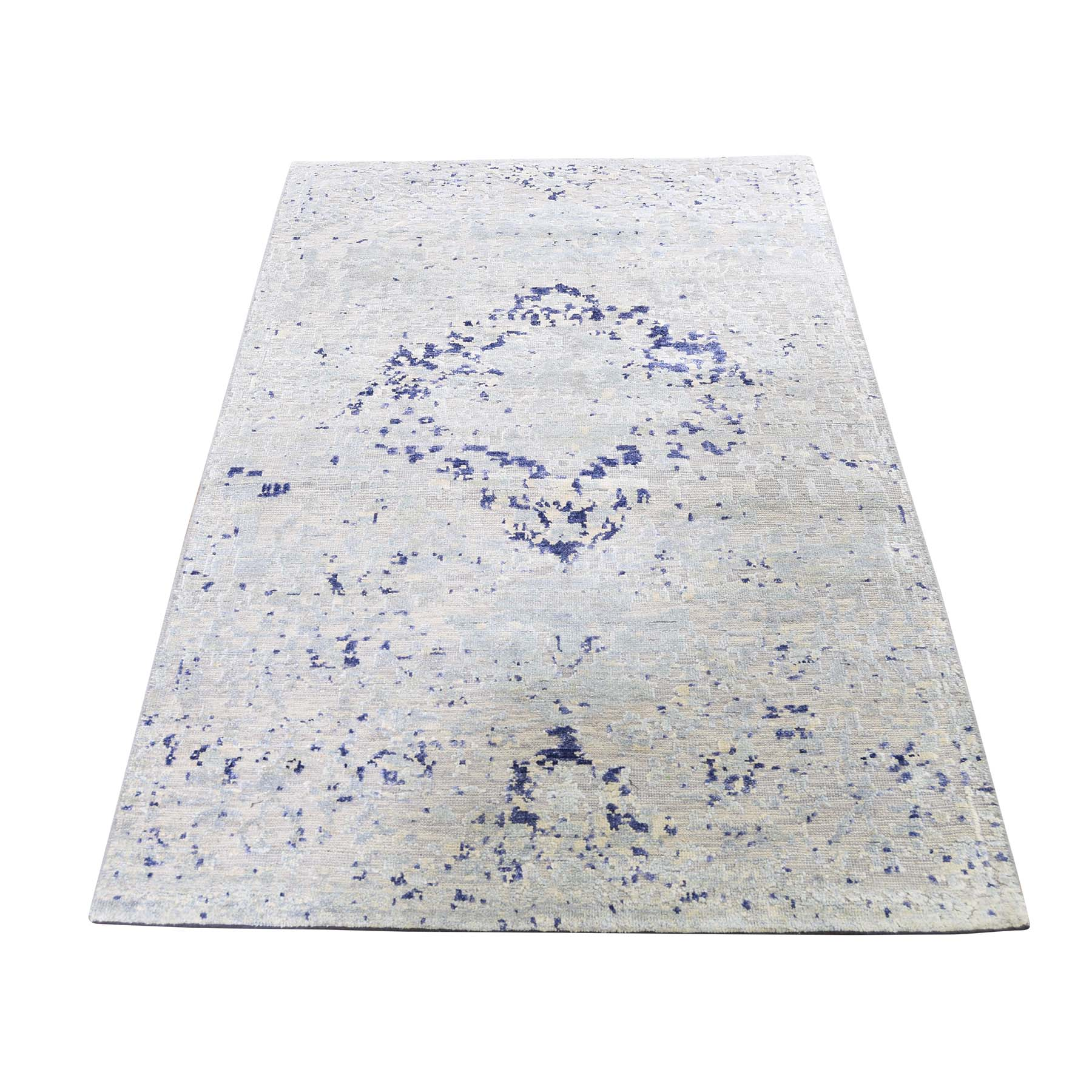 "3'x4'10"" Diminishing Cypress Trees With Medallion Design Silk With Textured Wool Hand-Knotted Oriental Rug"