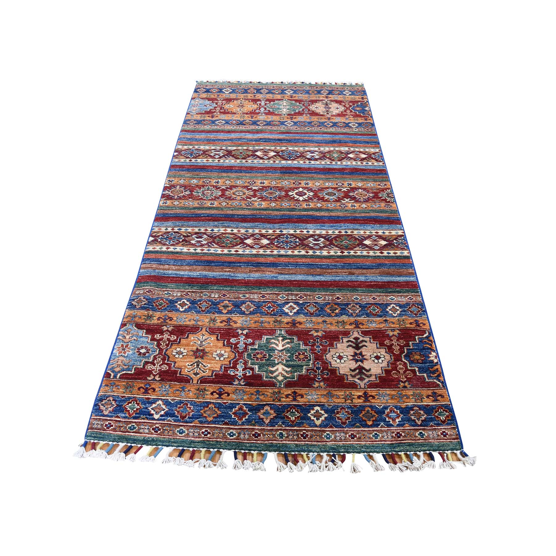 "2'10""X7'9"" Red Super Kazak Khorjin Design Runner Hand-Knotted Pure Wool Oriental Rug moade77c"