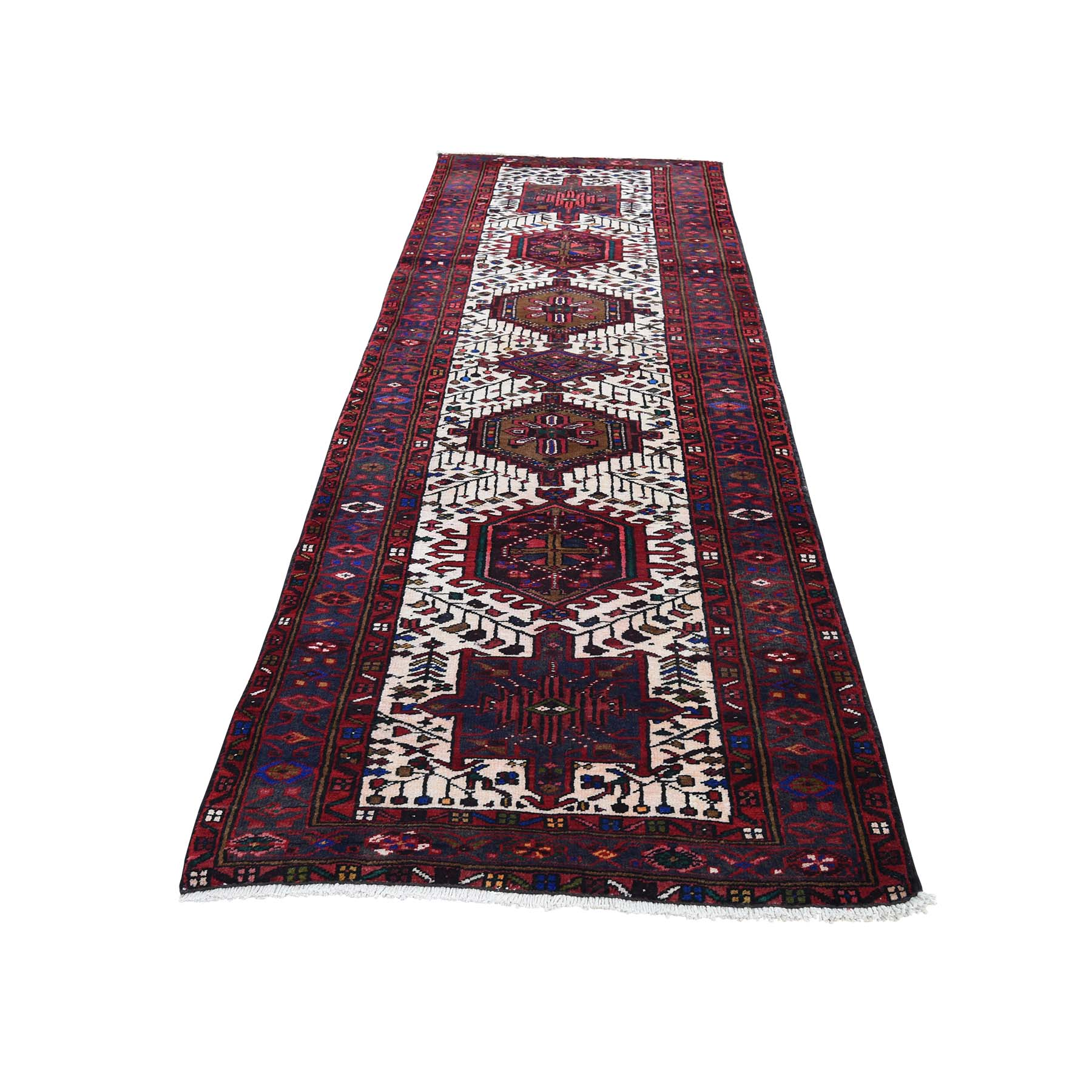"3'2""X10'5"" Vintage Persian Karajeh Pure Wool Runner Hand-Knotted Oriental Rug moade78e"