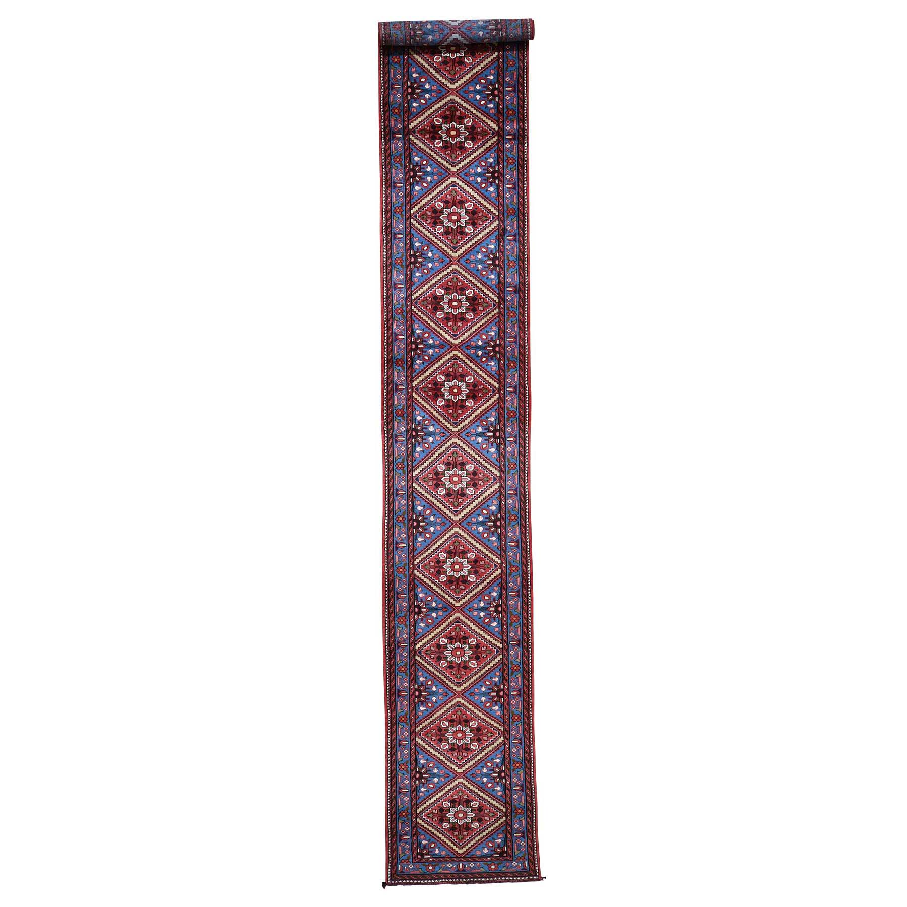 "2'7""X16'9"" Blue New Persian Hamadan Pure Wool Xl Runner Hand-Knotted Oriental Rug moade8ba"