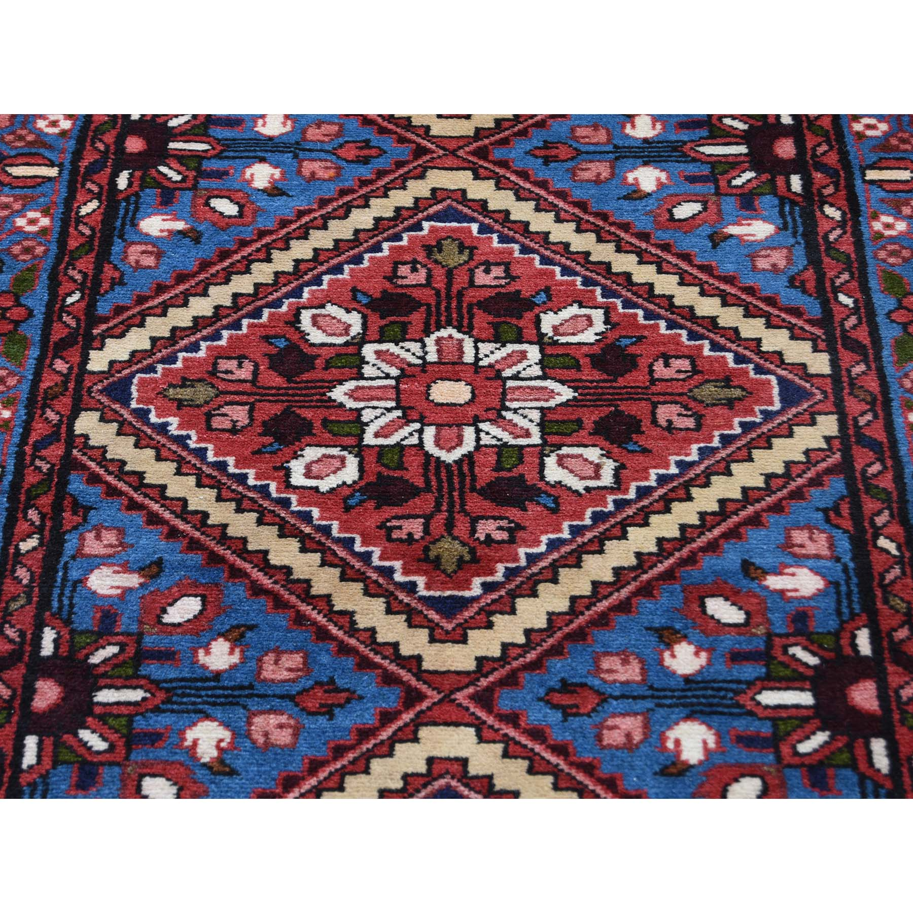 2-7 x16-9  Blue New Persian Hamadan Pure Wool XL Runner Hand-Knotted Oriental Rug