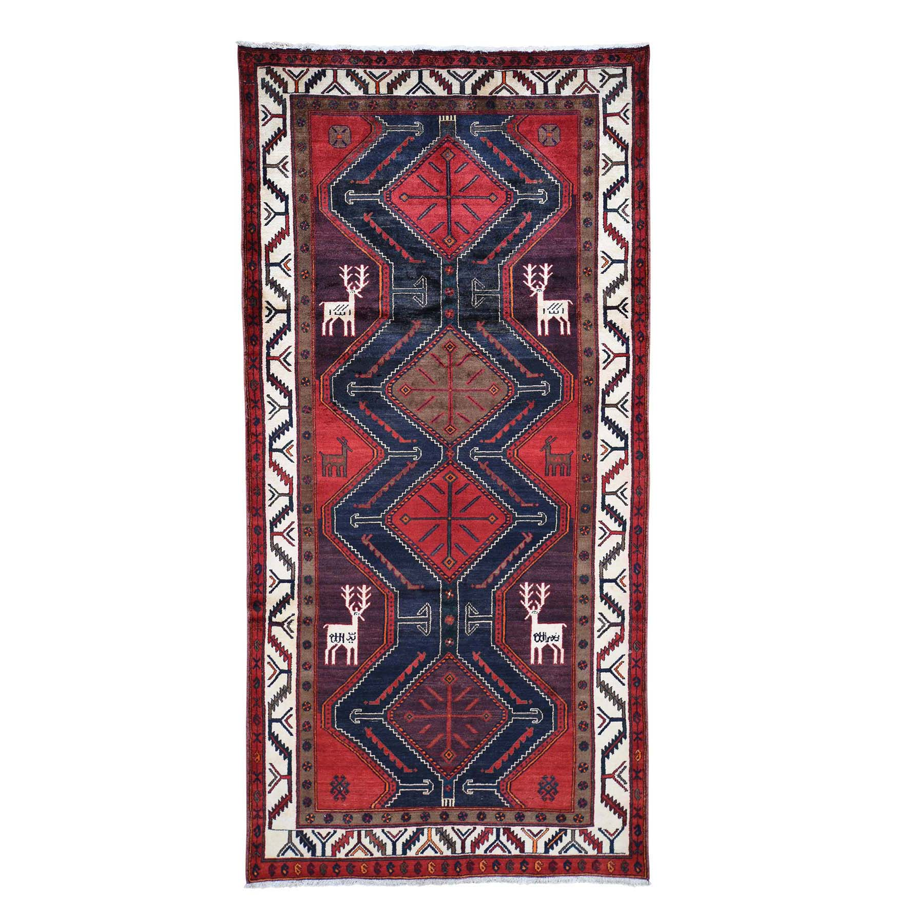 "5'2""X10'6"" Red New Persian With Deers Pure Wool Wide Runner Hand-Knotted Oriental Rug moade8bd"
