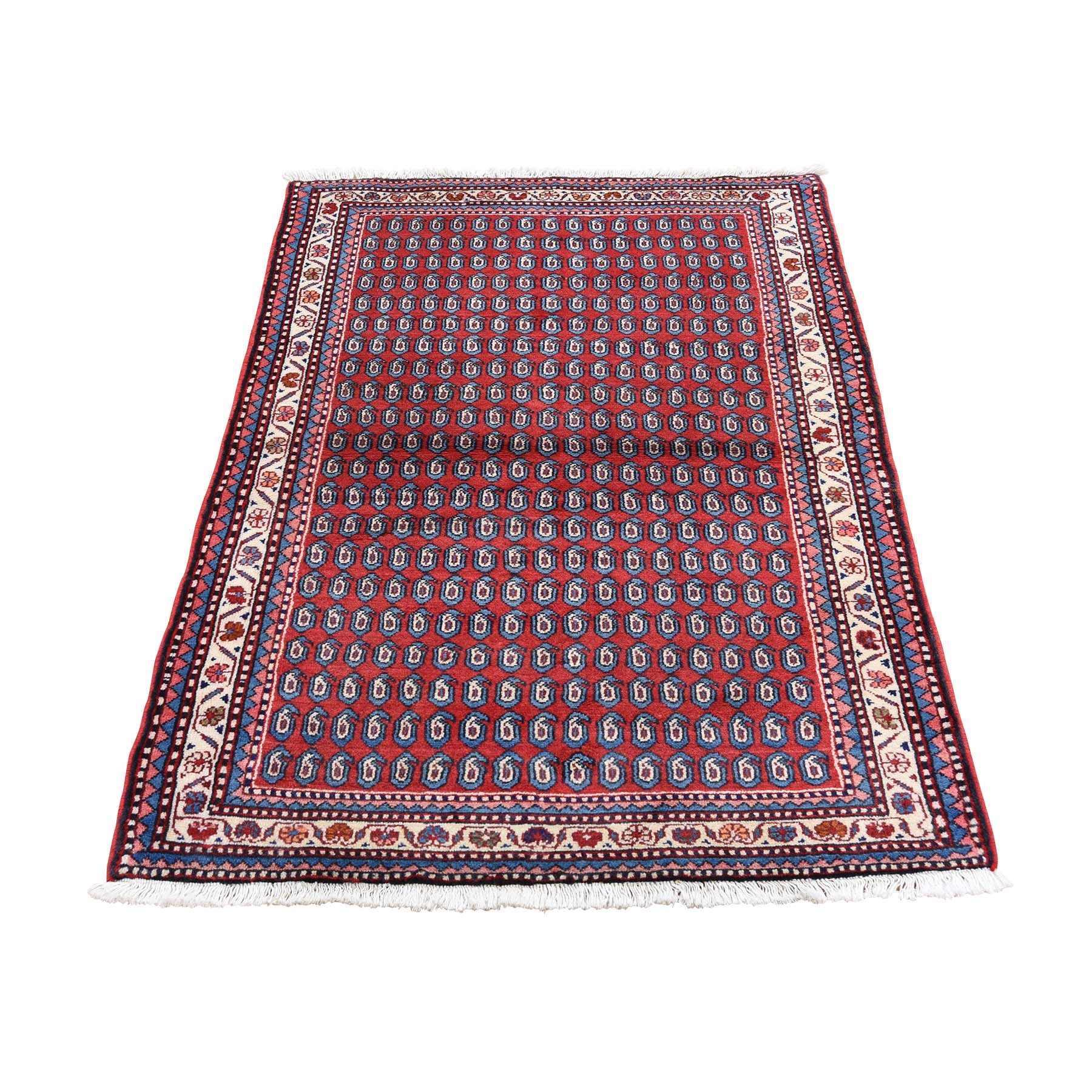 "3'X4'3"" Red New Persian Hamadan Boteh Design Pure Wool Hand-Knotted Oriental Rug moade8c9"