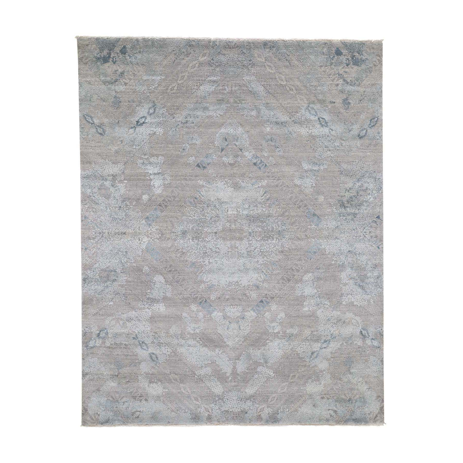 8'X10' Gray Wool And Pure Silk With Geometric Design Hand-Knotted Oriental Rug moade8d9