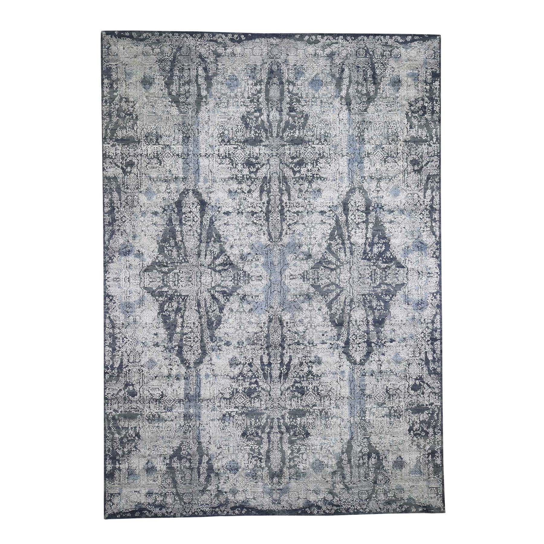 10'x14' Jewellery Design Tone On Tone Half Wool And Half Silk Hand-Knotted Oriental Rug