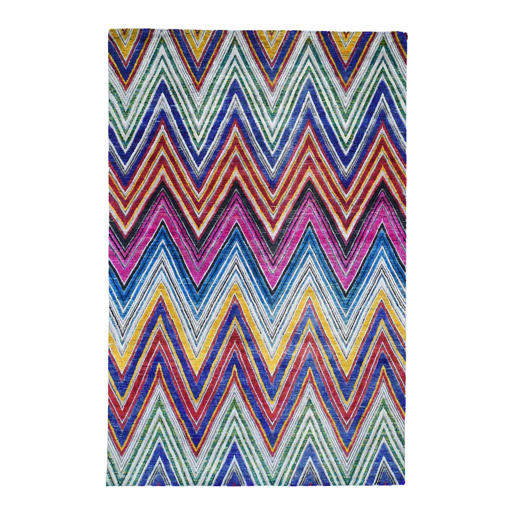 6'x9' Chevron Design Sari Silk with Textured Wool Hand-Knotted Oriental Rug