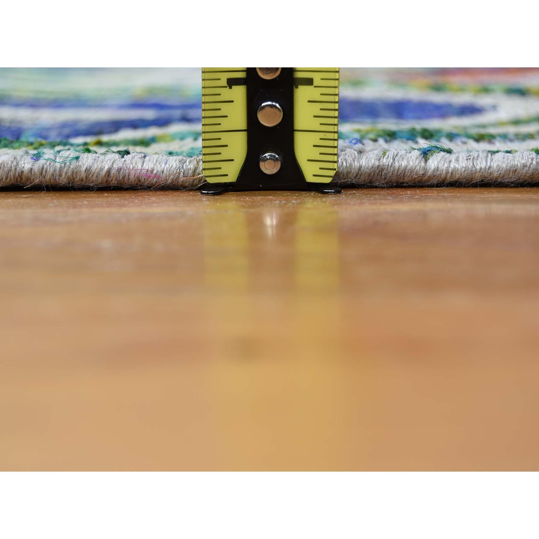 6-x9- Chevron Design Sari Silk with Textured Wool Hand-Knotted Oriental Rug