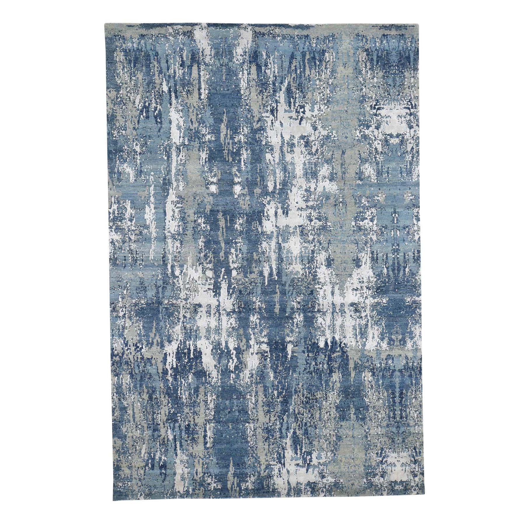 "6'X9'2"" Blue-Gray Abstract Design Wool And Pure Silk Hand-Knotted Oriental Rug moade8e8"