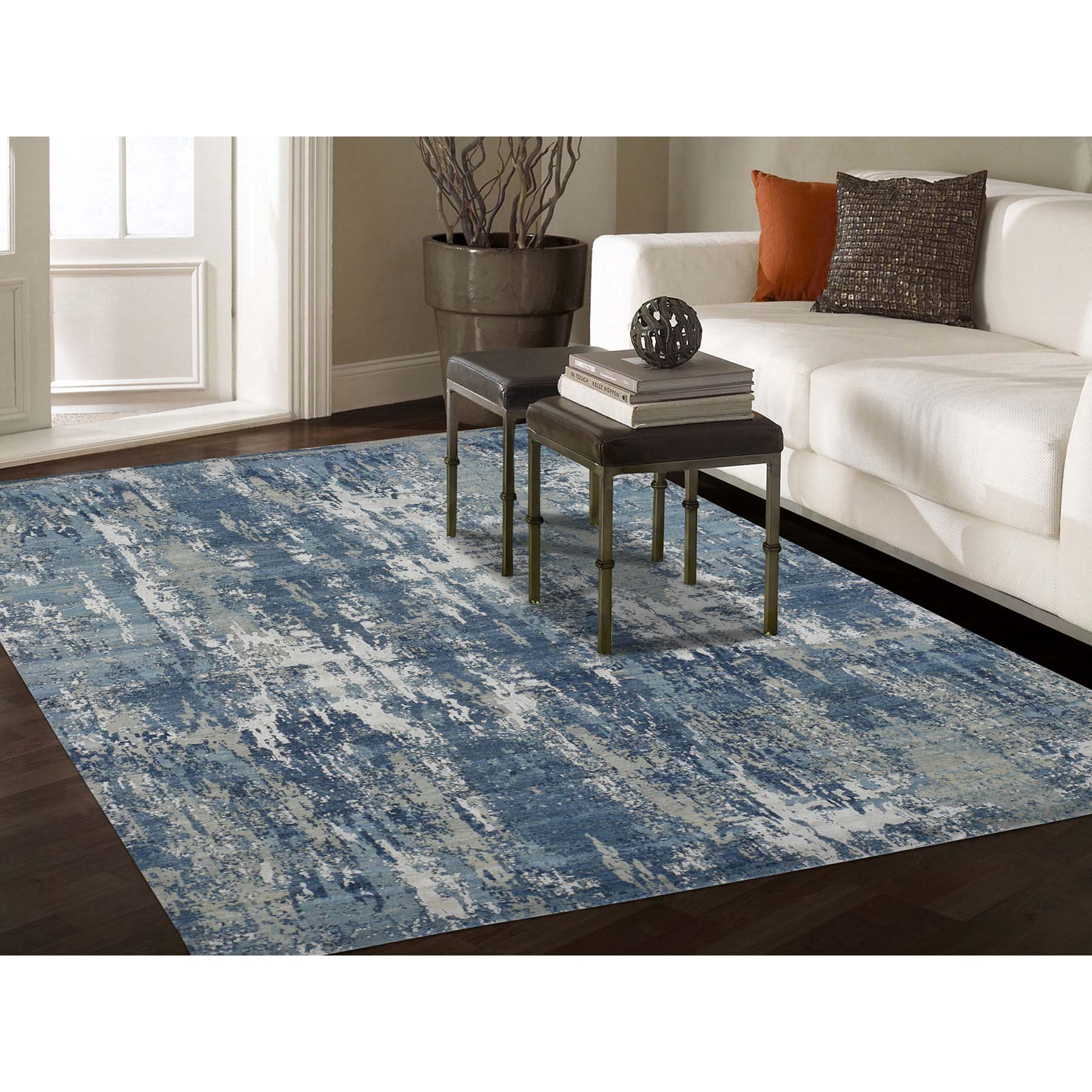 6-x9-2  Blue-Gray Abstract Design Wool and Pure Silk Hand-Knotted Oriental Rug