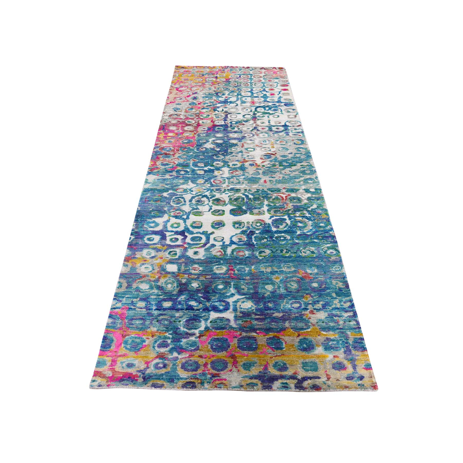 "2'8""X10'4"" The Peacock Sari Silk Colorful Runner Hand-Knotted Oriental Rug moade86d"
