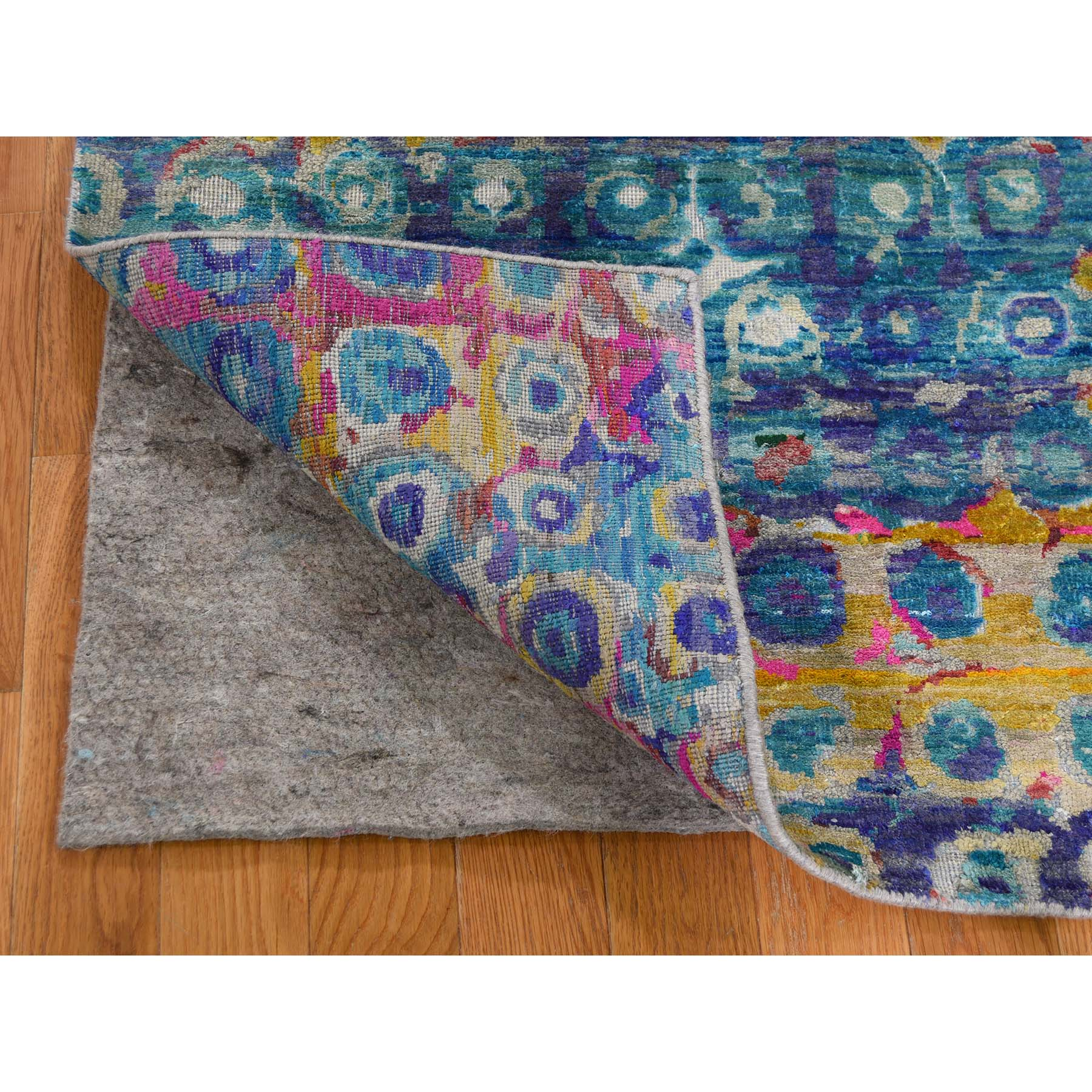 """2'8""""x10'4"""" THE PEACOCK Sari Silk Colorful Runner Hand-Knotted Oriental Rug"""