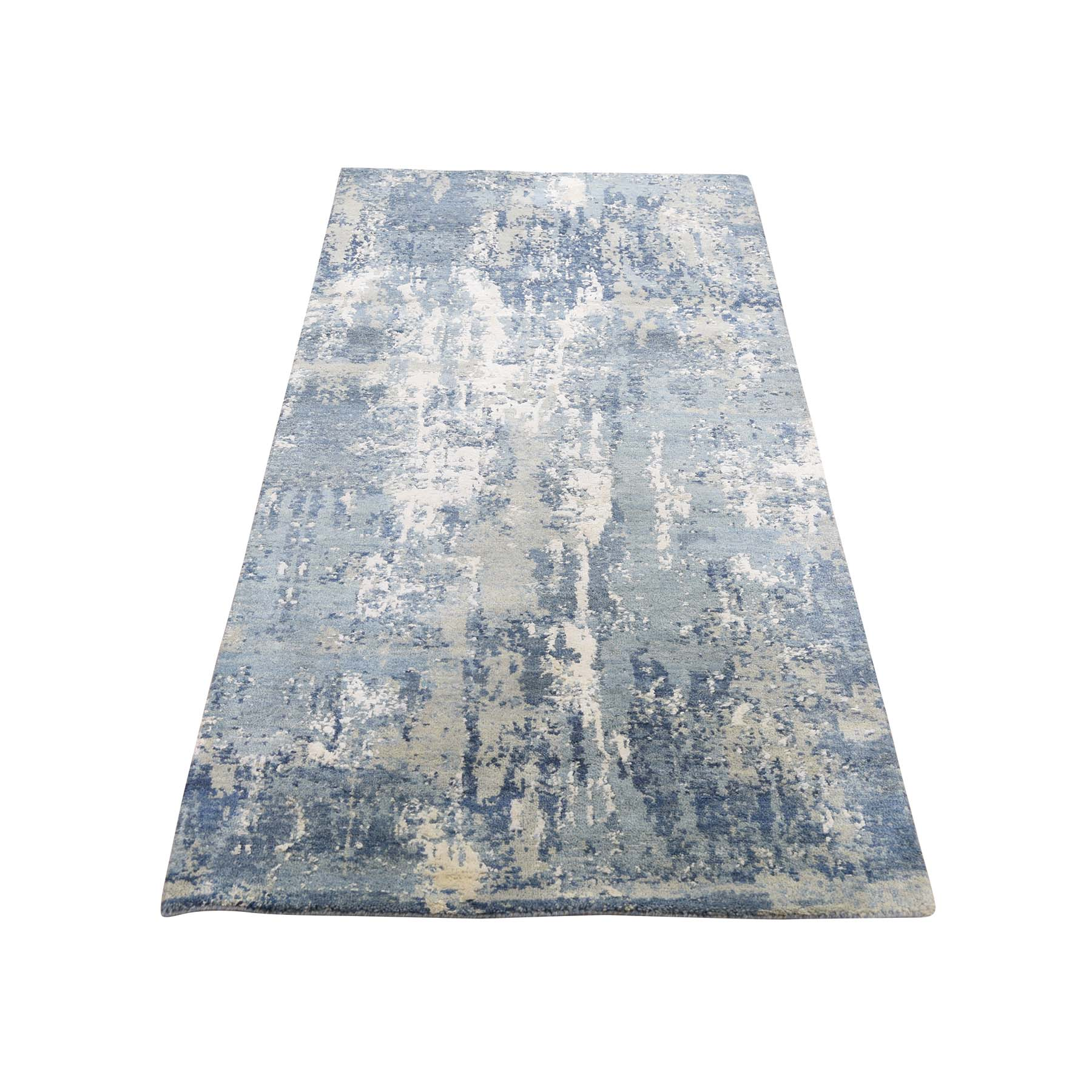 "2'7""X6'1"" Blue-Gray Abstract Design Wool And Silk Hand-Knotted Oriental Runner Rug moade86e"
