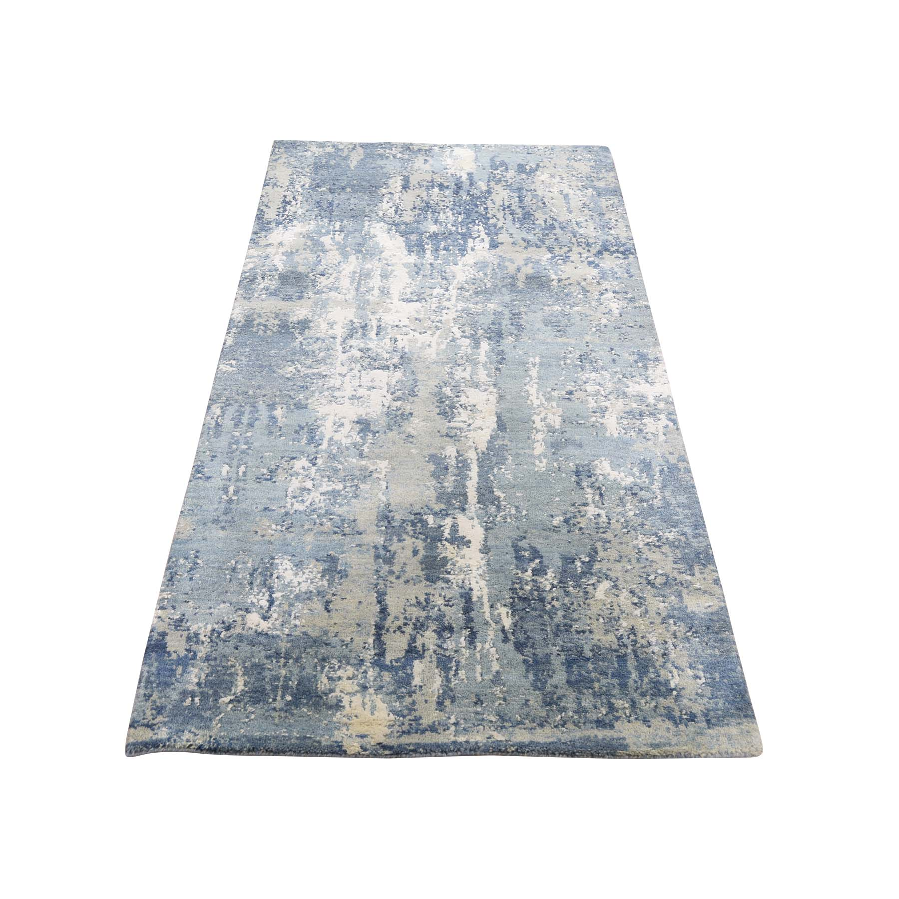 "2'7""x6'1"" Blue-Gray Abstract Design Wool and Pure Silk Hand-Knotted Oriental Runner Rug"