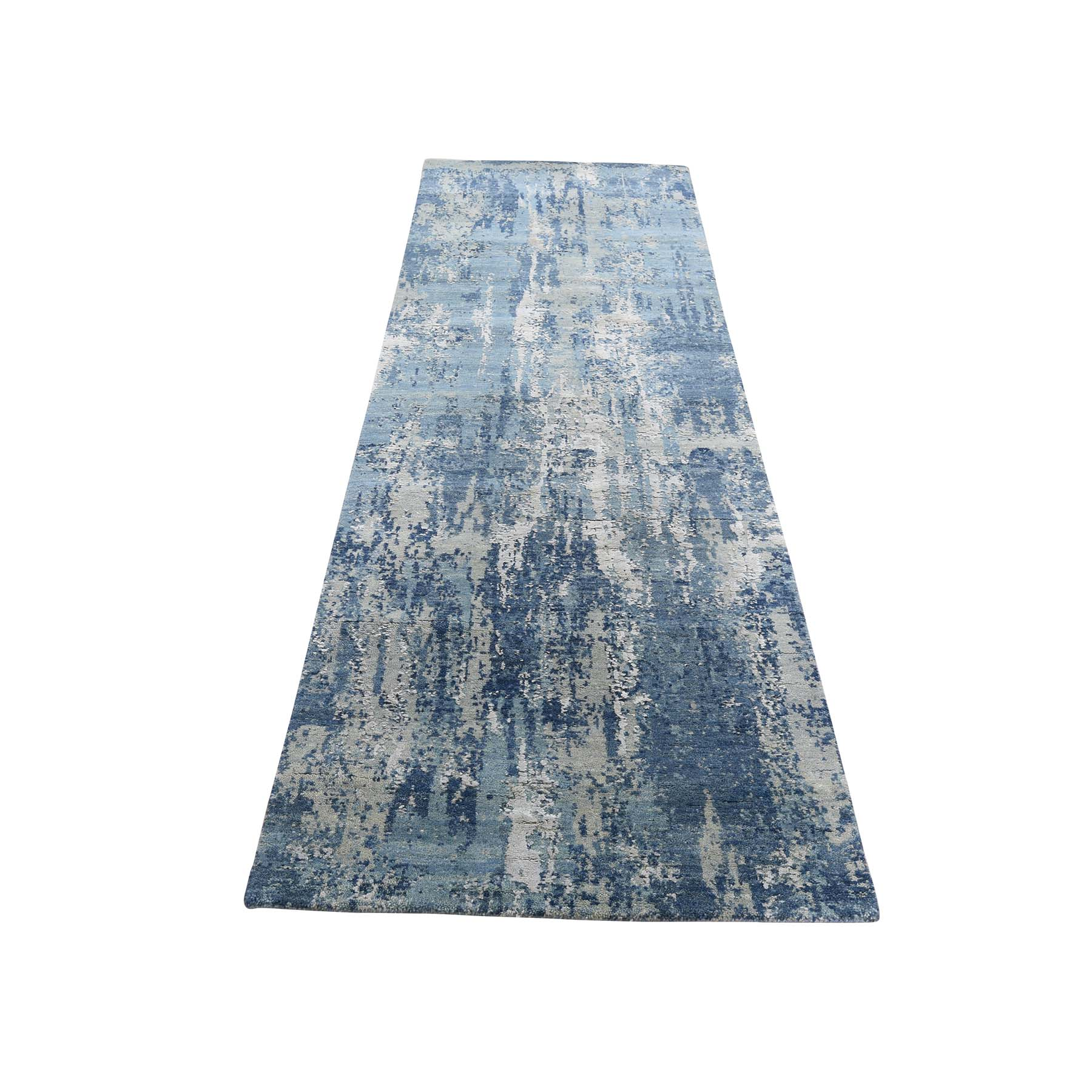 "2'6""X8'3"" Blue-Gray Abstract Design Wool And Pure Silk Hand-Knotted Oriental Runner Rug moade867"