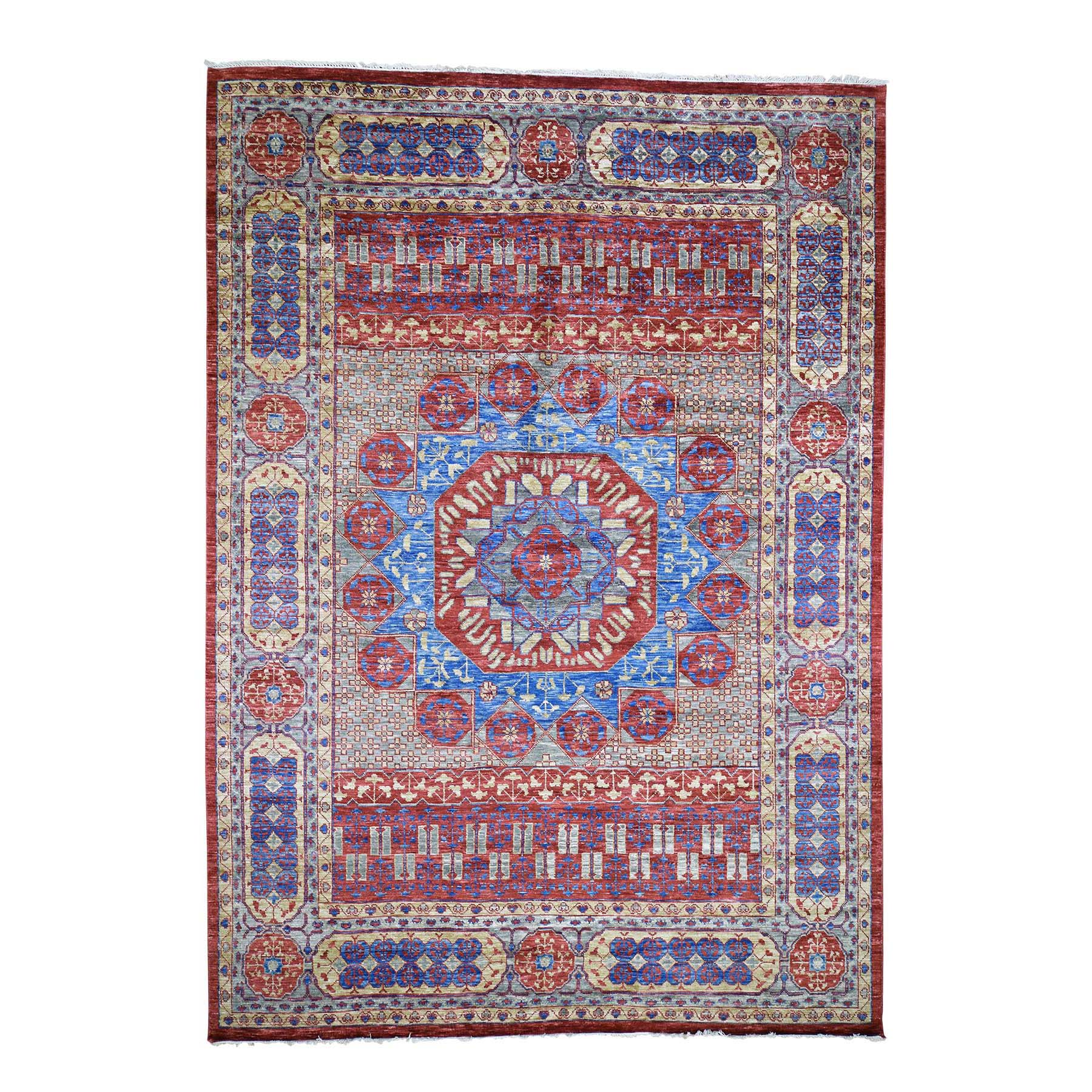 "10'x14'3"" Red Mamluk Design Veg Dyes Hand Spun New Zealand Wool Oriental Rug"