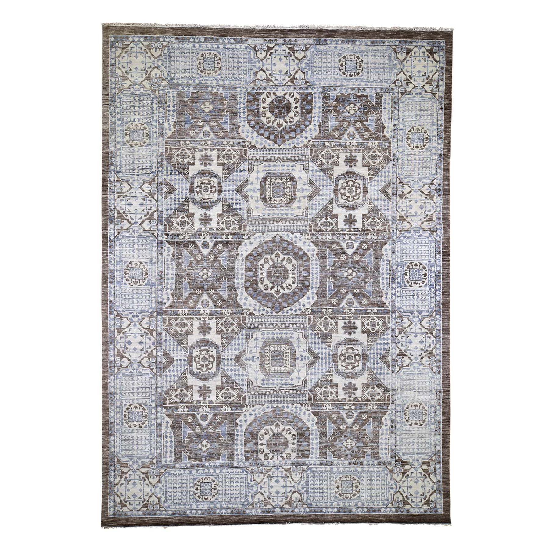 "10'2""x14'5"" Brown Mamluk Design Veg Dyes Hand Spun New Zealand Wool Oriental Rug"