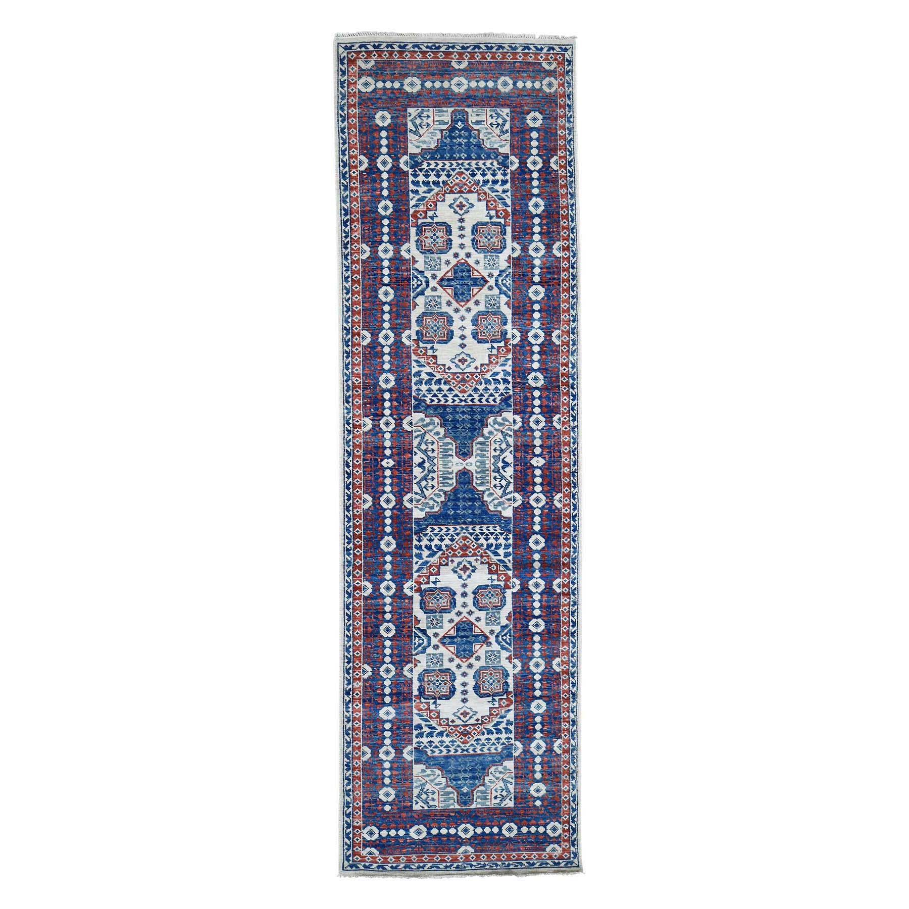 "4'1""x14' Ivory Mamluk Design Veg Dyes Hand Spun New Zealand Wool Oriental Wide Runner Rug"