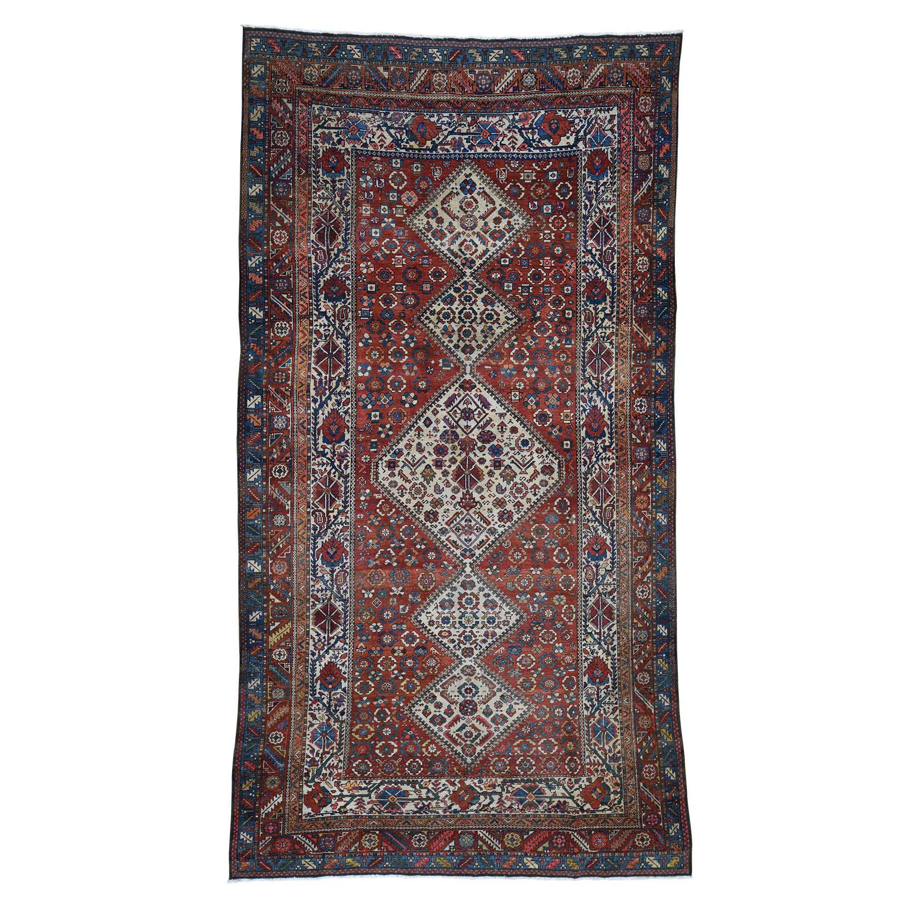 "6'8""X12'8"" Red Gallery Size Antique Persian Bakhtiari Good Con. Full Pile Pure Wool Hand-Knotted Oriental Rug moade9ac"