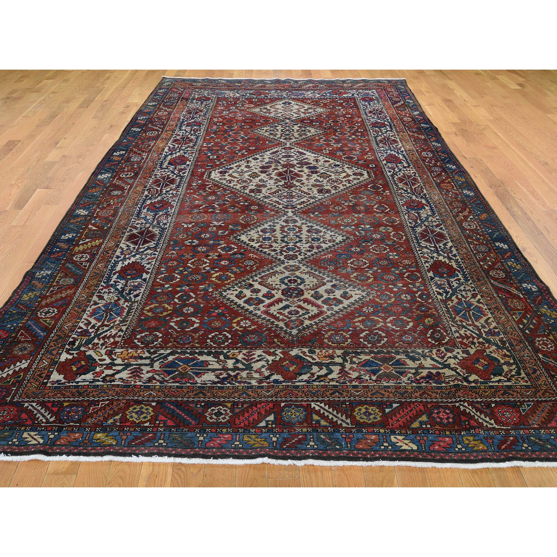 "6'8""x12'8"" Red Gallery Size Antique Persian Bakhtiari Good Con. Full Pile Pure Wool Hand-Knotted Oriental Rug"